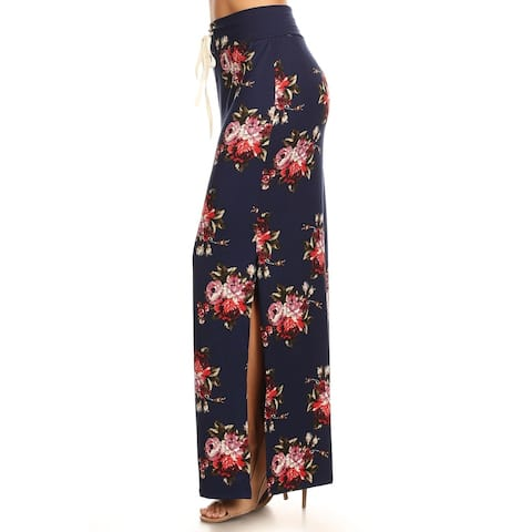 Women's Casual Floral Print Drawstring High Waist Maxi Skirt