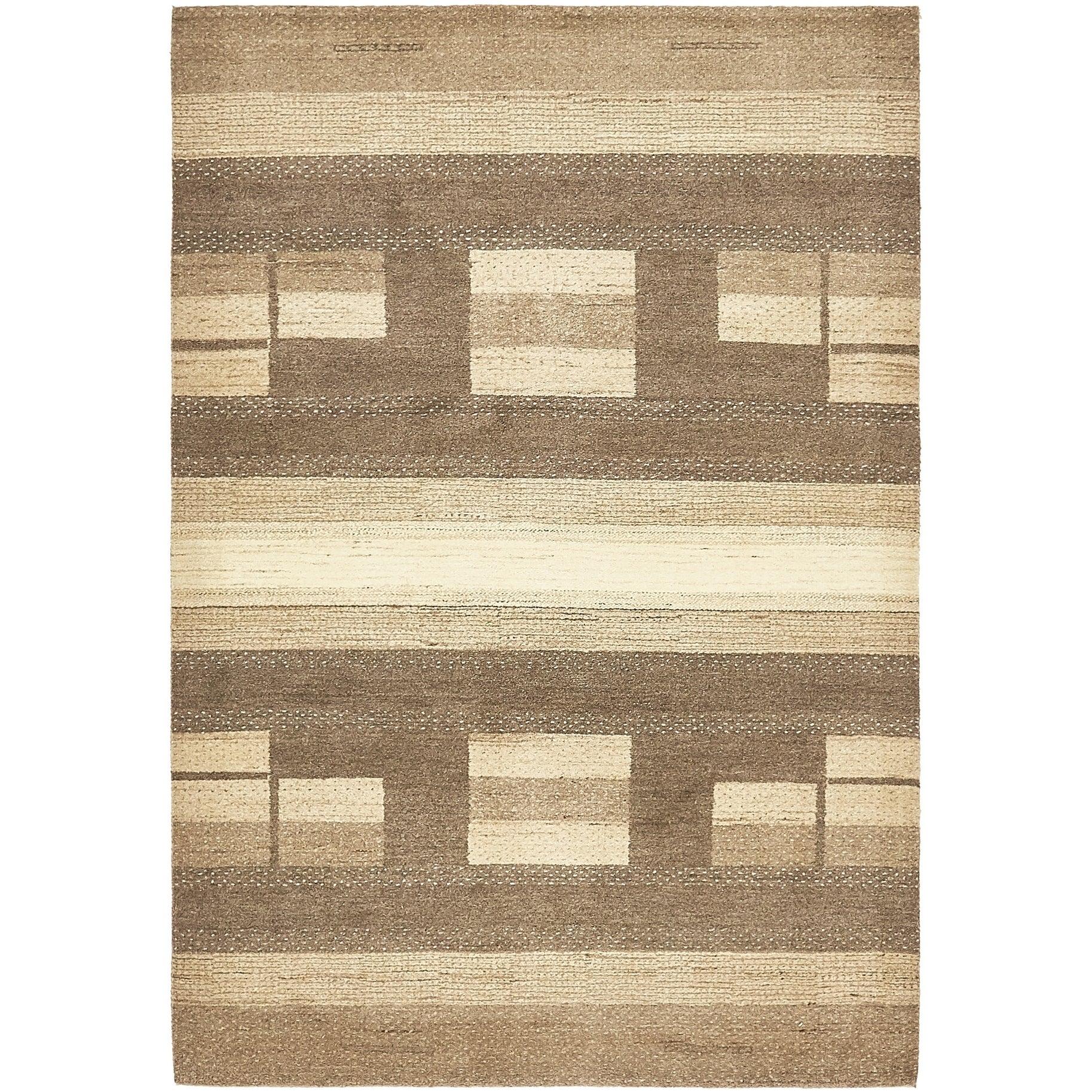 Hand Knotted Kashkuli Gabbeh Wool Area Rug - 4 8 x 6 10 (Brown - 4 8 x 6 10)