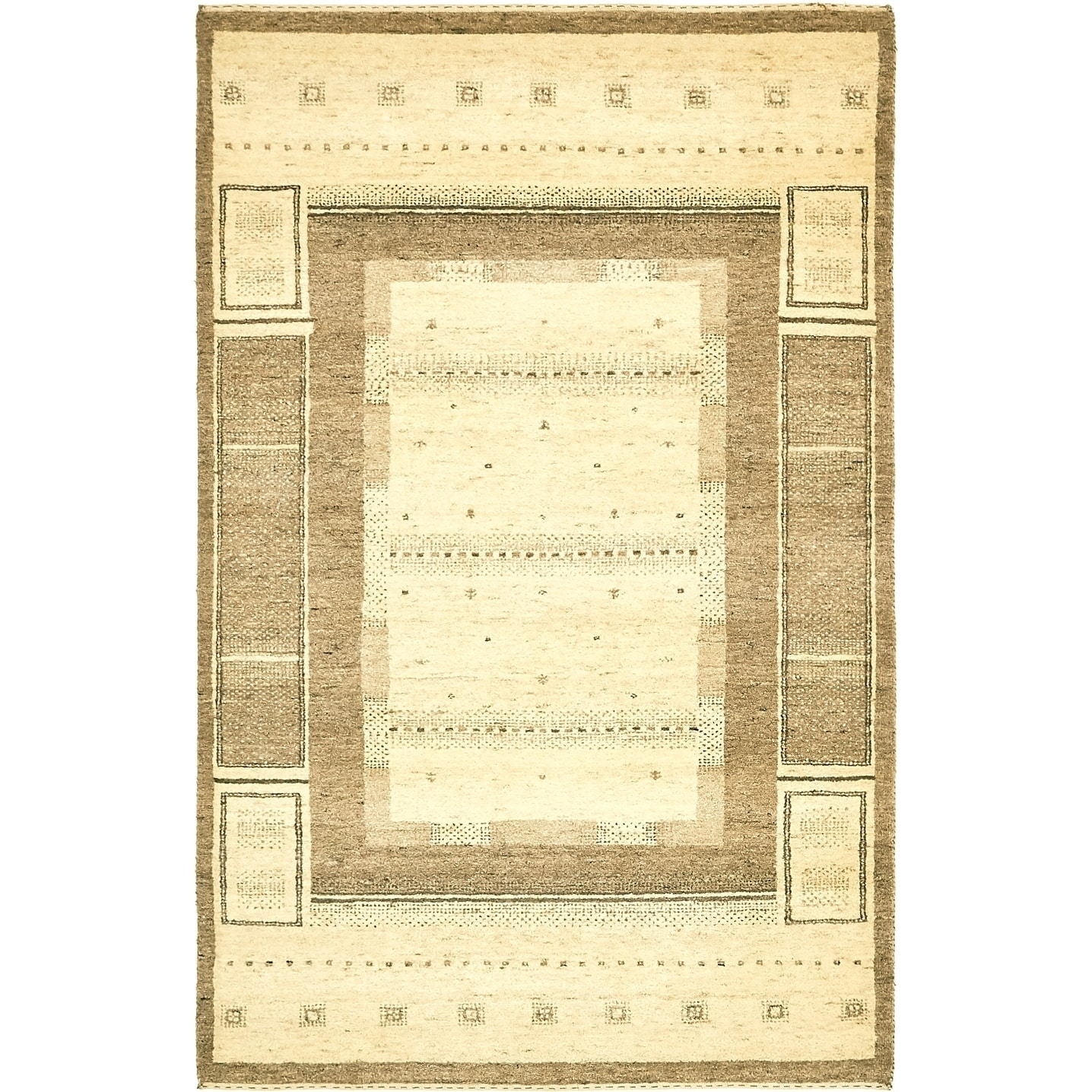 Hand Knotted Kashkuli Gabbeh Wool Area Rug - 4 x 6 3 (Cream - 4 x 6 3)