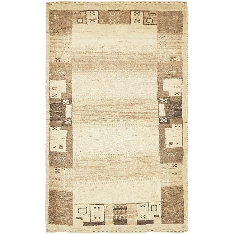 Hand Knotted Kashkuli Gabbeh Wool Area Rug - 2 x 3 3 (Cream - 2 x 3 3)