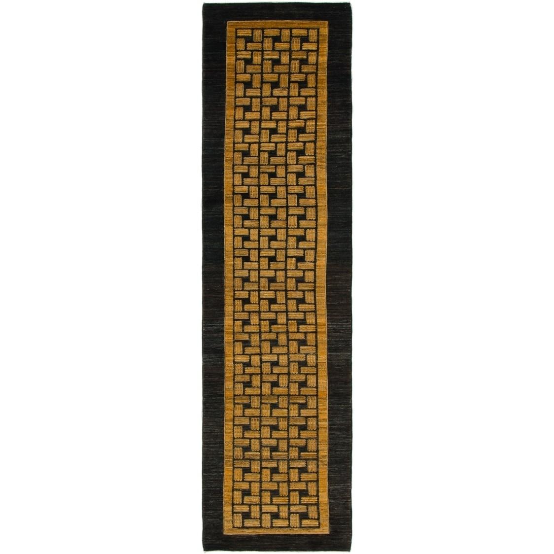 Hand Knotted Kashkuli Gabbeh Wool Runner Rug - 2 7 x 10 2 (Gold - 2 7 x 10 2)