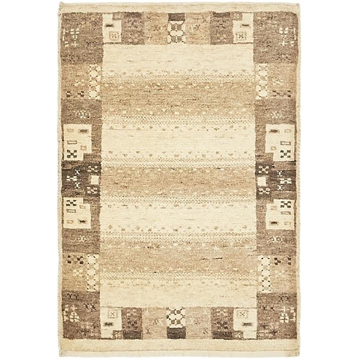 Hand Knotted Kashkuli Gabbeh Wool Area Rug - 2 x 2 10 (Cream - 2 x 2 10)