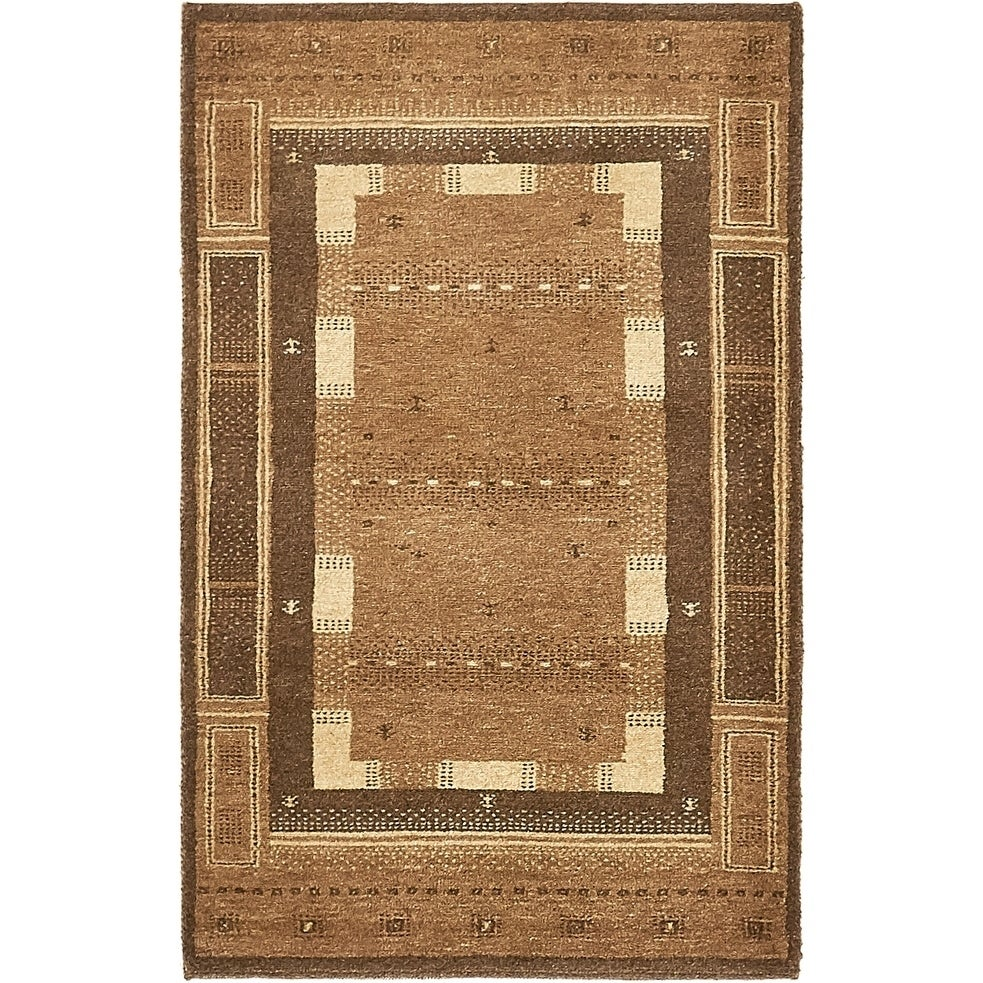 Hand Knotted Kashkuli Gabbeh Wool Area Rug - 2 6 x 4 (Brown - 2 6 x 4)