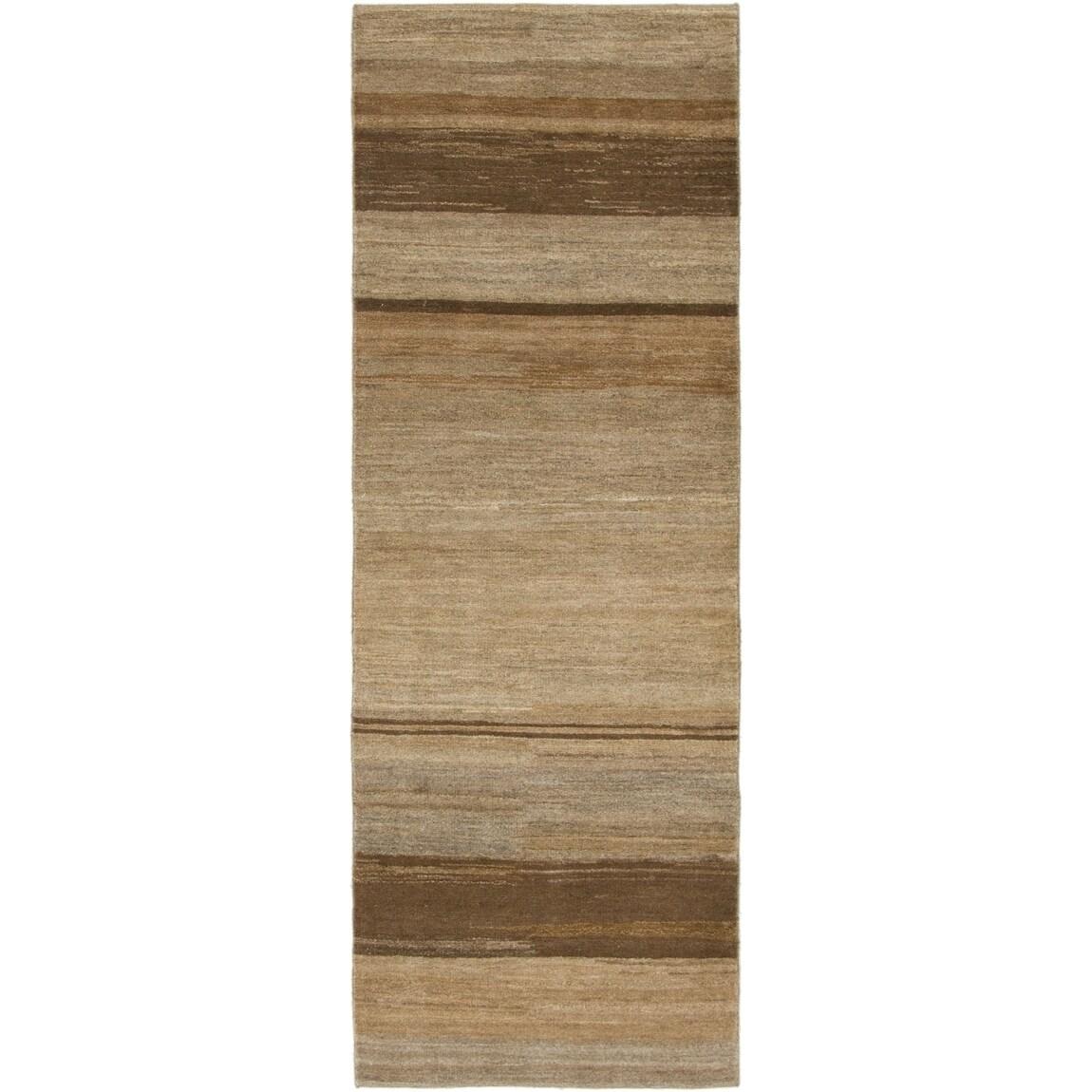 Hand Knotted Kashkuli Gabbeh Wool Runner Rug - 2 8 x 8 (Light brown - 2 8 x 8)