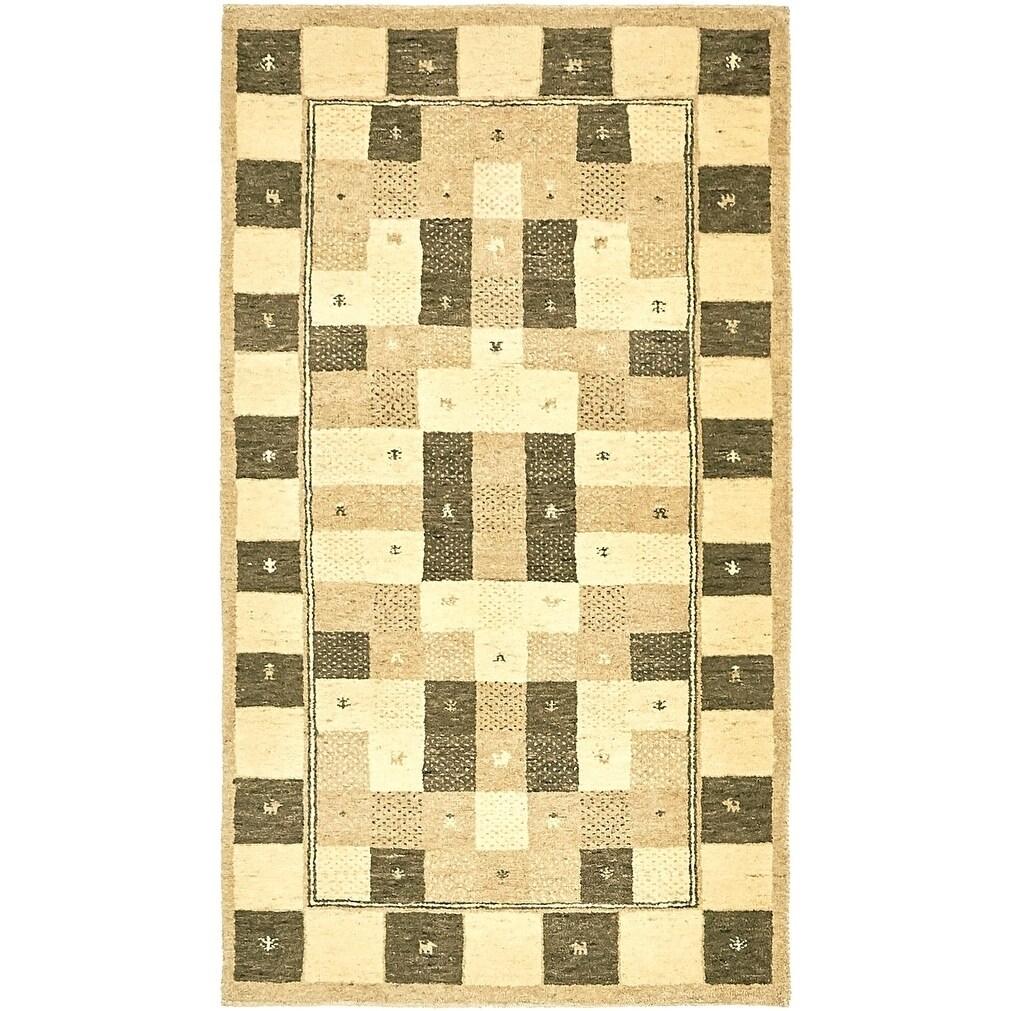 Hand Knotted Kashkuli Gabbeh Wool Area Rug - 2 10 x 5 (Cream - 2 10 x 5)