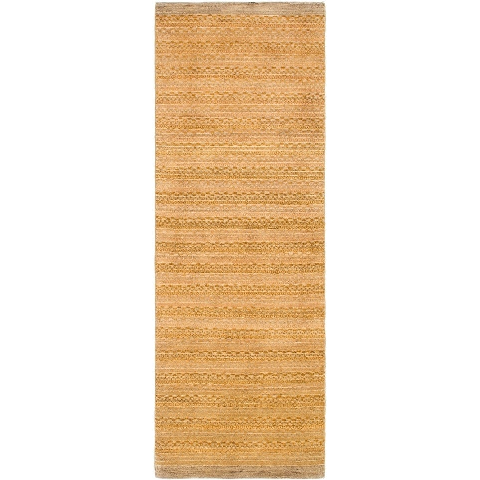 Hand Knotted Kashkuli Gabbeh Wool Runner Rug - 2 8 x 7 10 (Gold - 2 8 x 7 10)