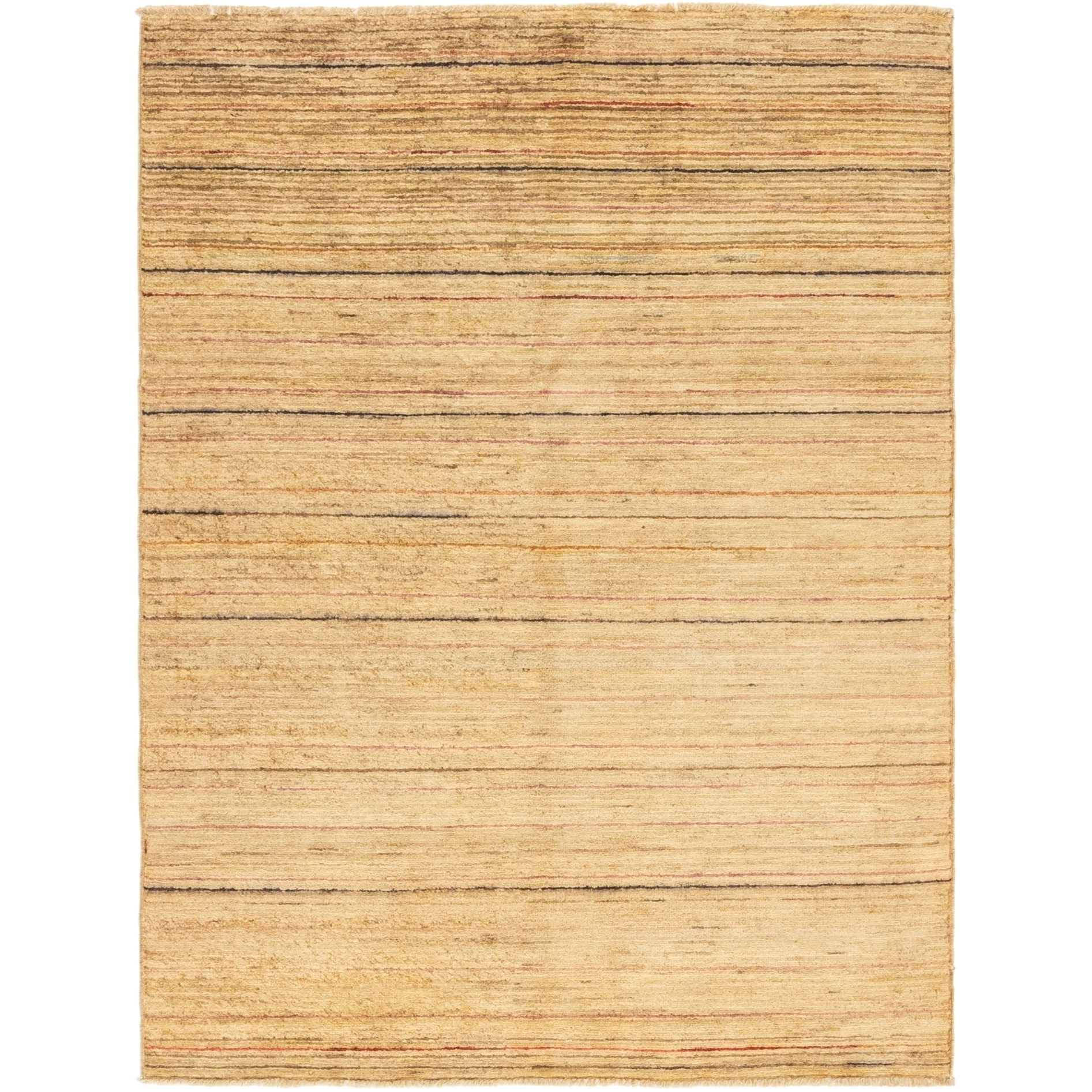 Hand Knotted Kashkuli Gabbeh Wool Area Rug - 4 7 x 6 1 (Beige - 4 7 x 6 1)
