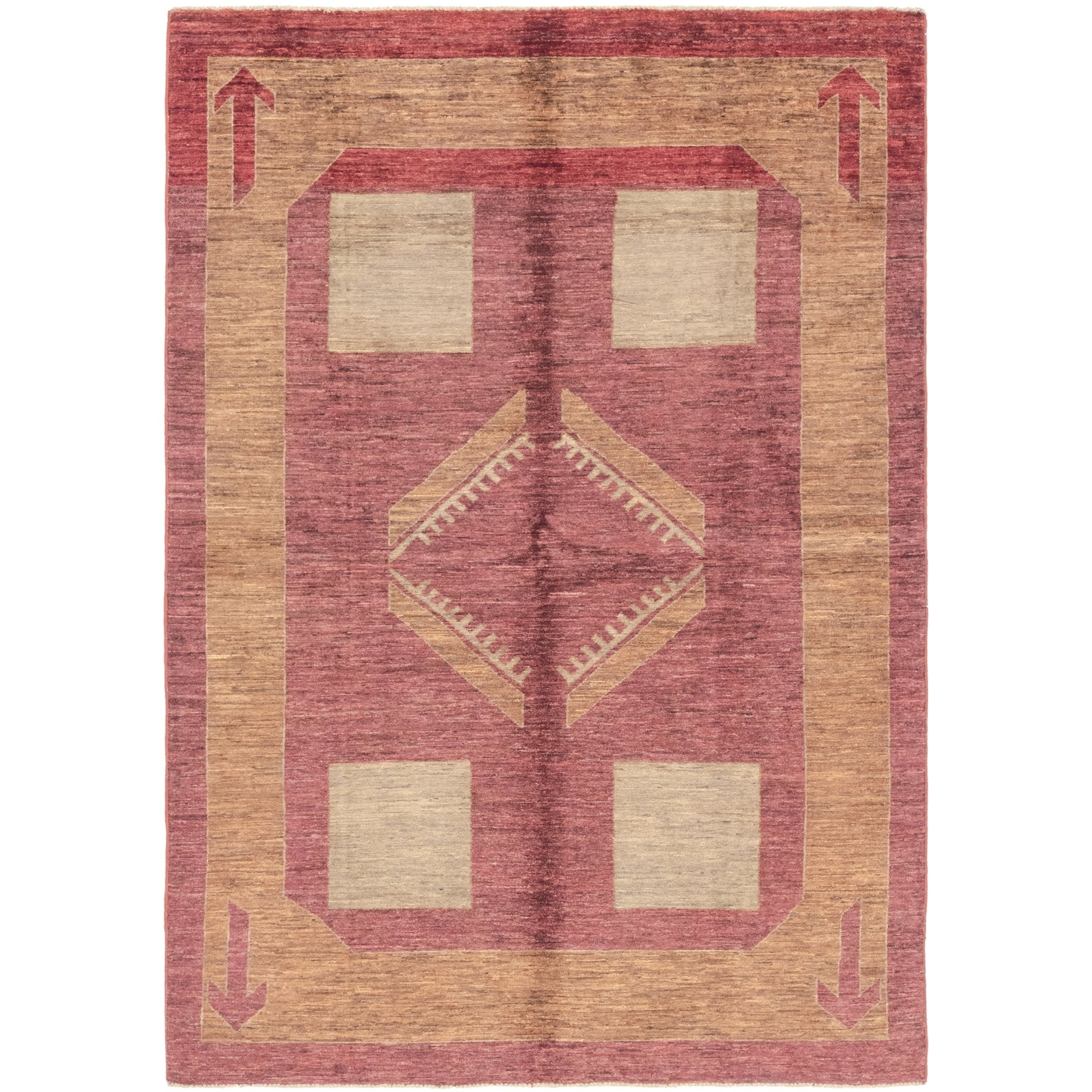 Hand Knotted Kashkuli Gabbeh Wool Area Rug - 5 6 x 7 8 (Plum Red - 5 6 x 7 8)