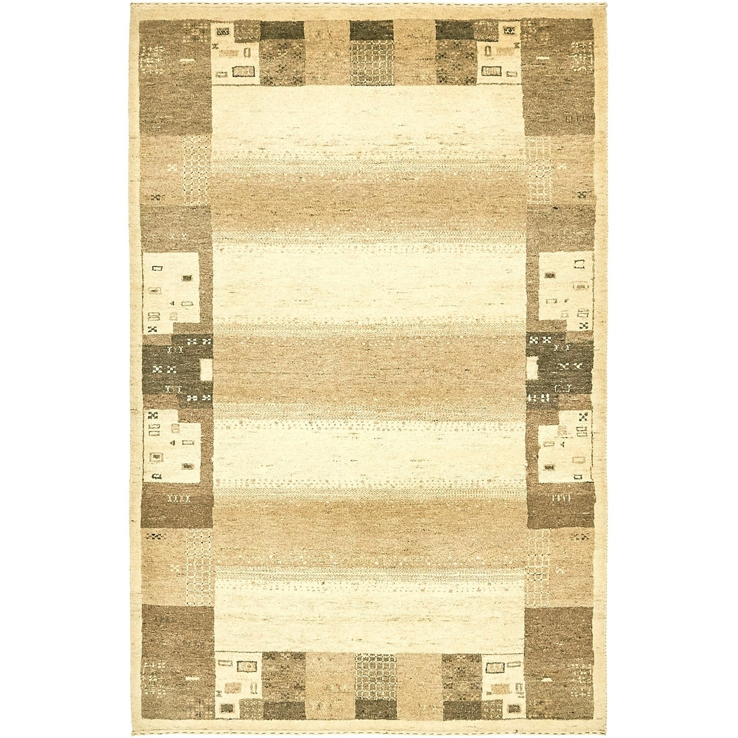 Hand Knotted Kashkuli Gabbeh Wool Area Rug - 4 x 6 2 (Cream - 4 x 6 2)