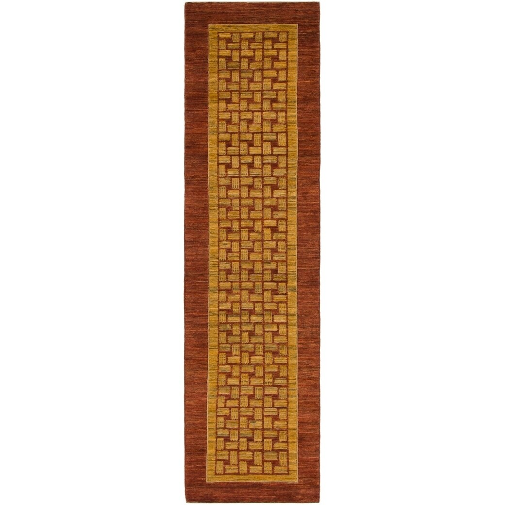 Hand Knotted Kashkuli Gabbeh Wool Runner Rug - 2 5 x 9 7 (Rust Red - 2 5 x 9 7)
