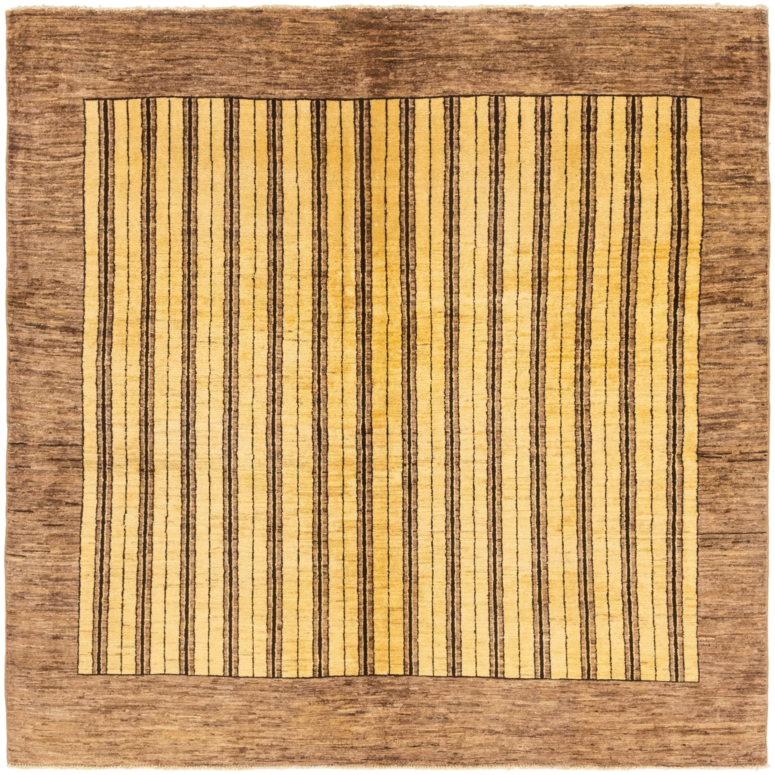 Hand Knotted Kashkuli Gabbeh Wool Square Rug - 6 4 x 6 5 (Cream - 6 4 x 6 5)