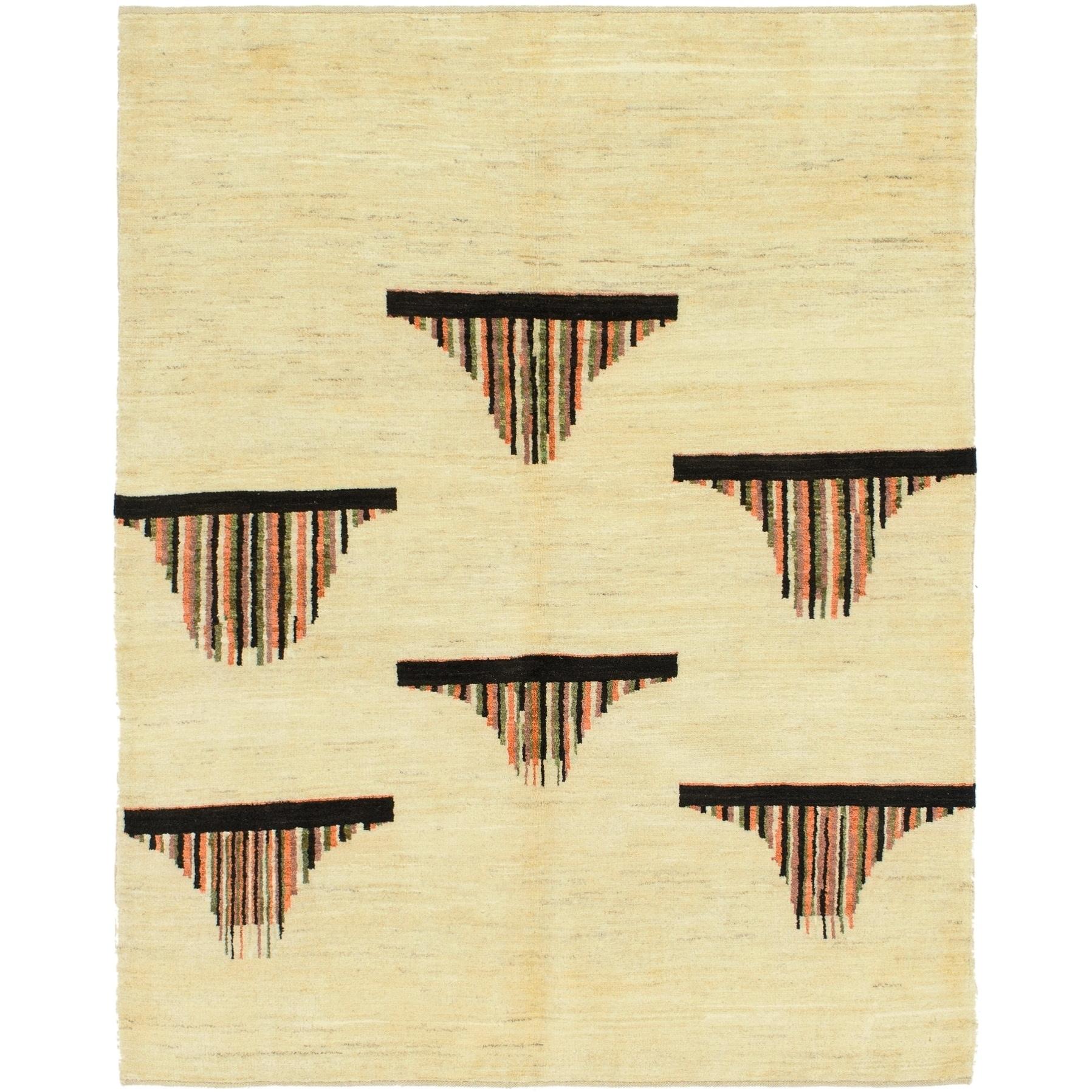 Hand Knotted Kashkuli Gabbeh Wool Area Rug - 5 x 6 6 (Cream - 5 x 6 6)