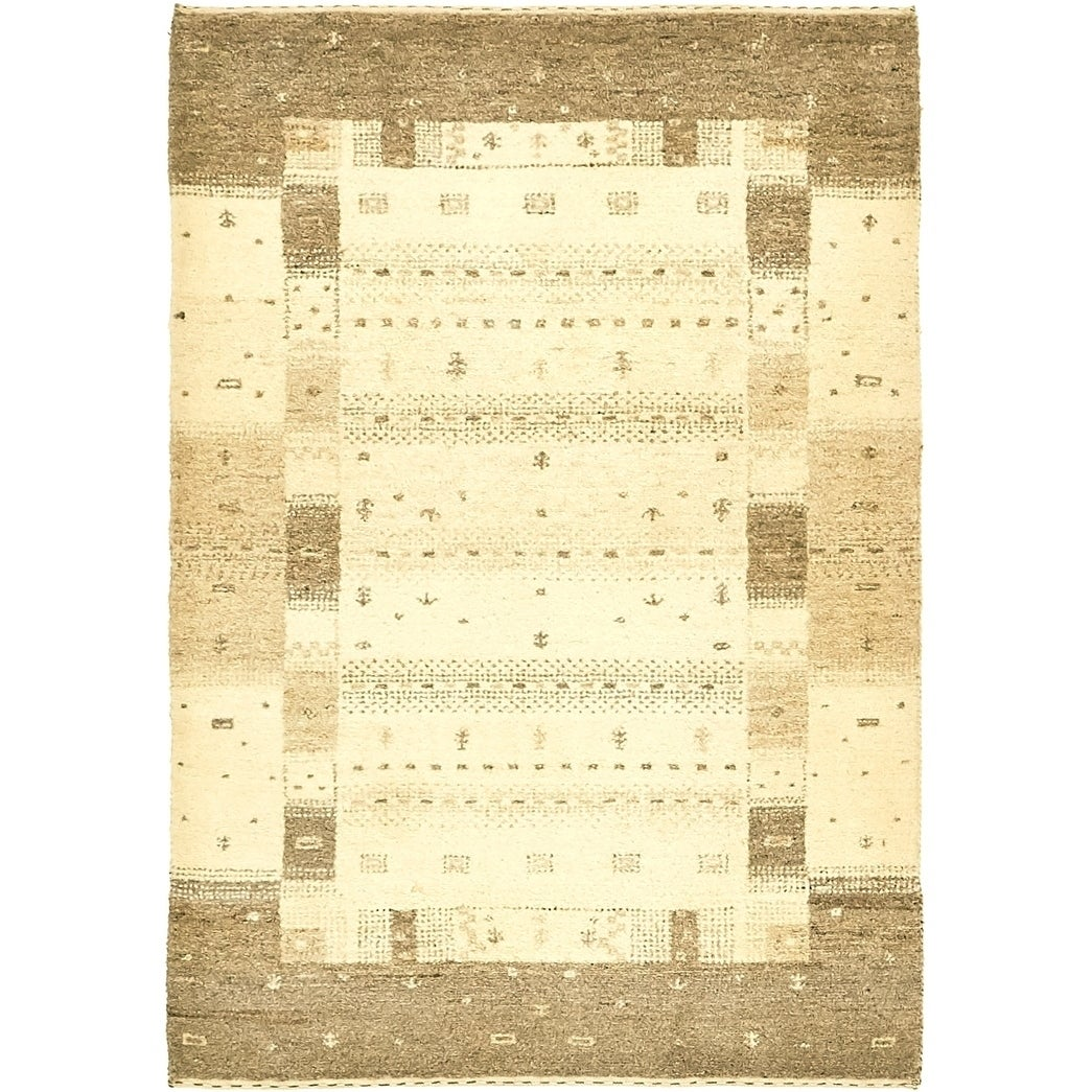 Hand Knotted Kashkuli Gabbeh Wool Area Rug - 3 x 4 2 (Cream - 3 x 4 2)