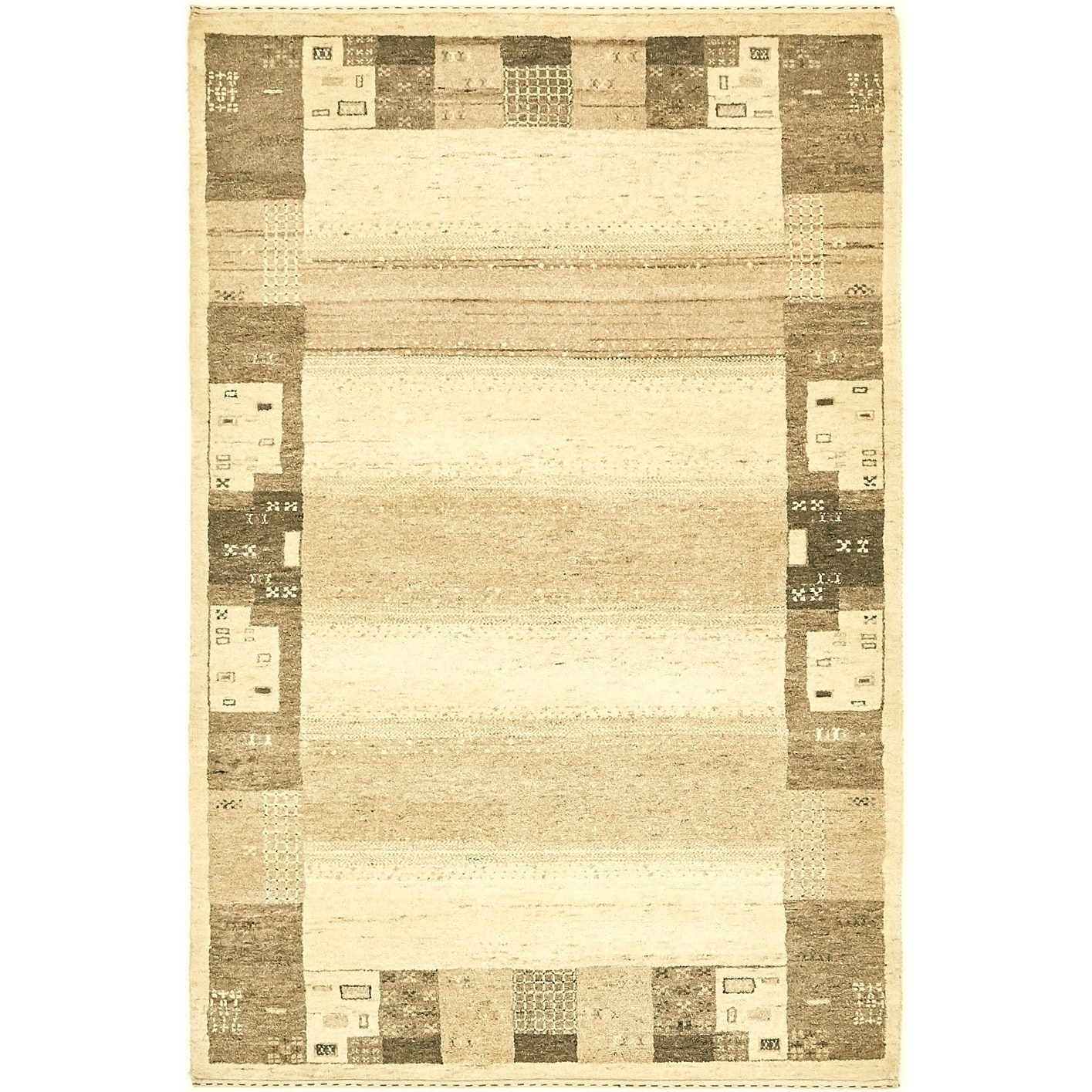 Hand Knotted Kashkuli Gabbeh Wool Area Rug - 4 x 6 (Cream - 4 x 6)