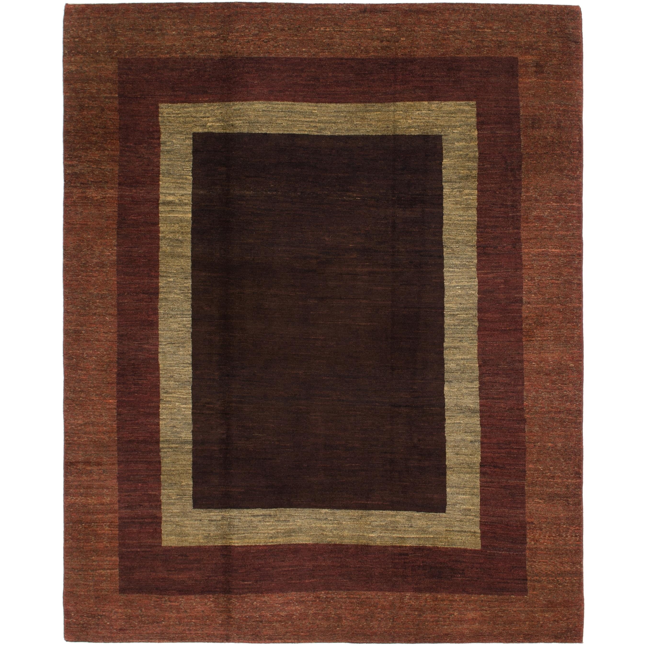 Hand Knotted Kashkuli Gabbeh Wool Area Rug - 8 x 9 8 (Maroon - 8 x 9 8)