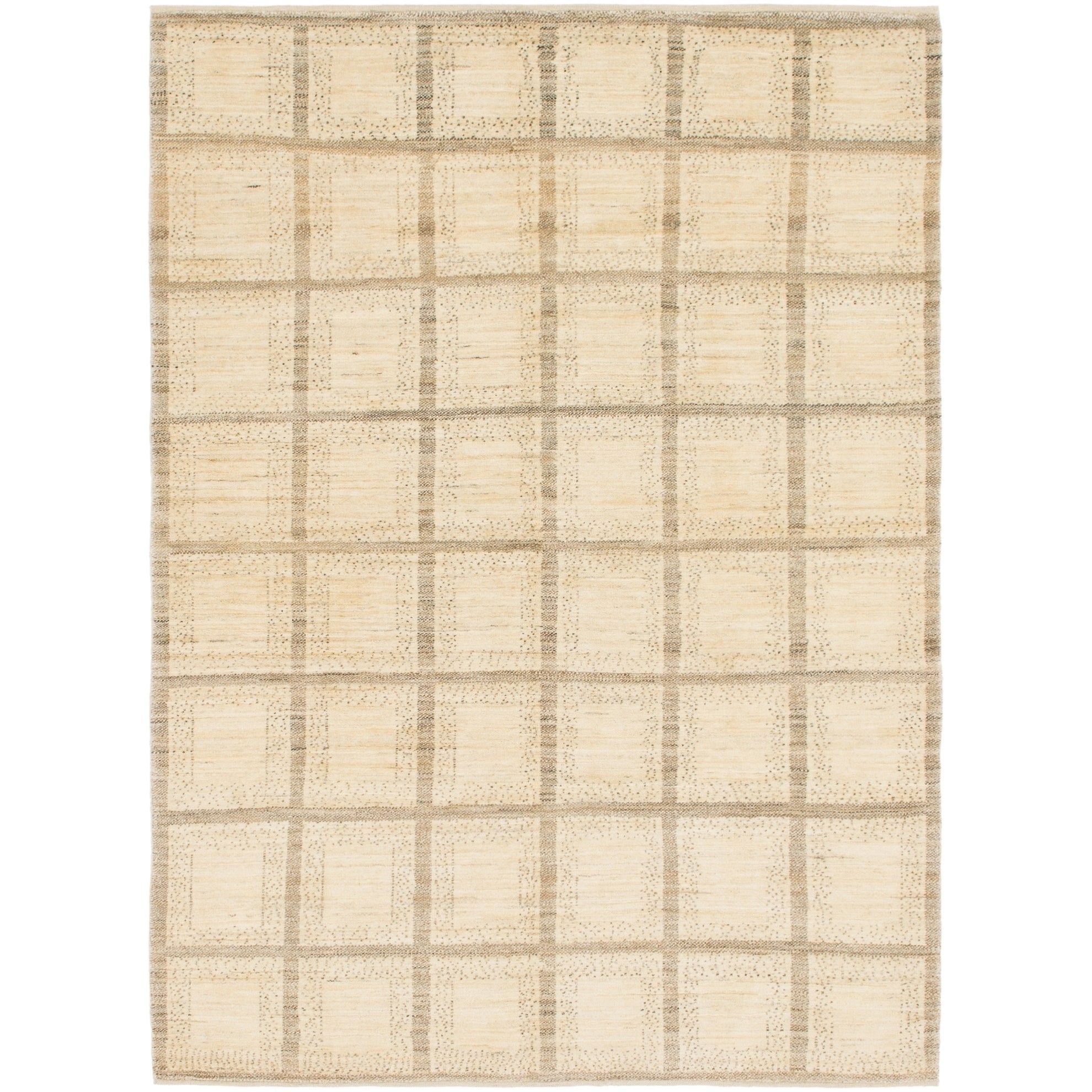 Hand Knotted Kashkuli Gabbeh Wool Area Rug - 5 9 x 8 (Cream - 5 9 x 8)