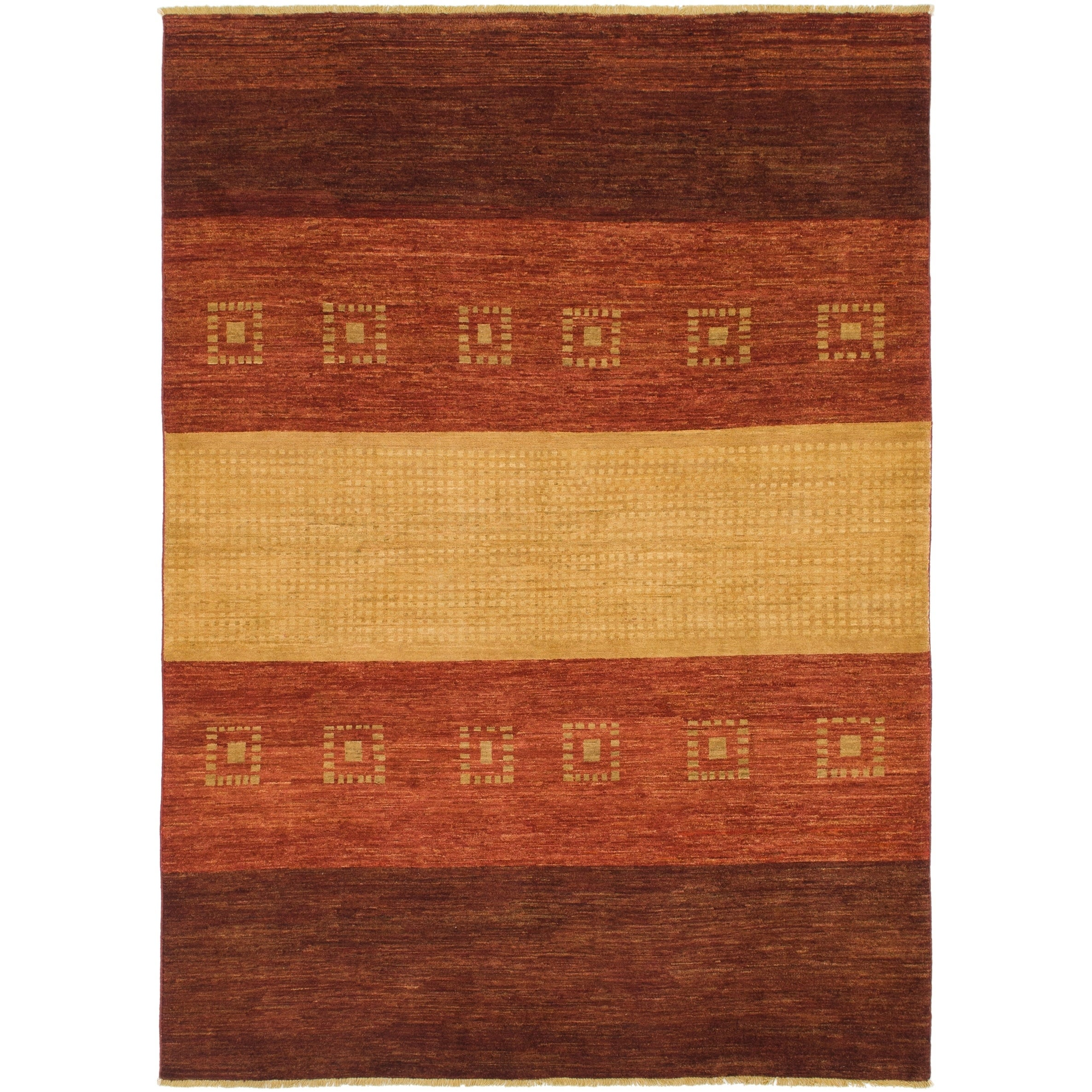 Hand Knotted Kashkuli Gabbeh Wool Area Rug - 6 10 x 9 6 (Red - 6 10 x 9 6)
