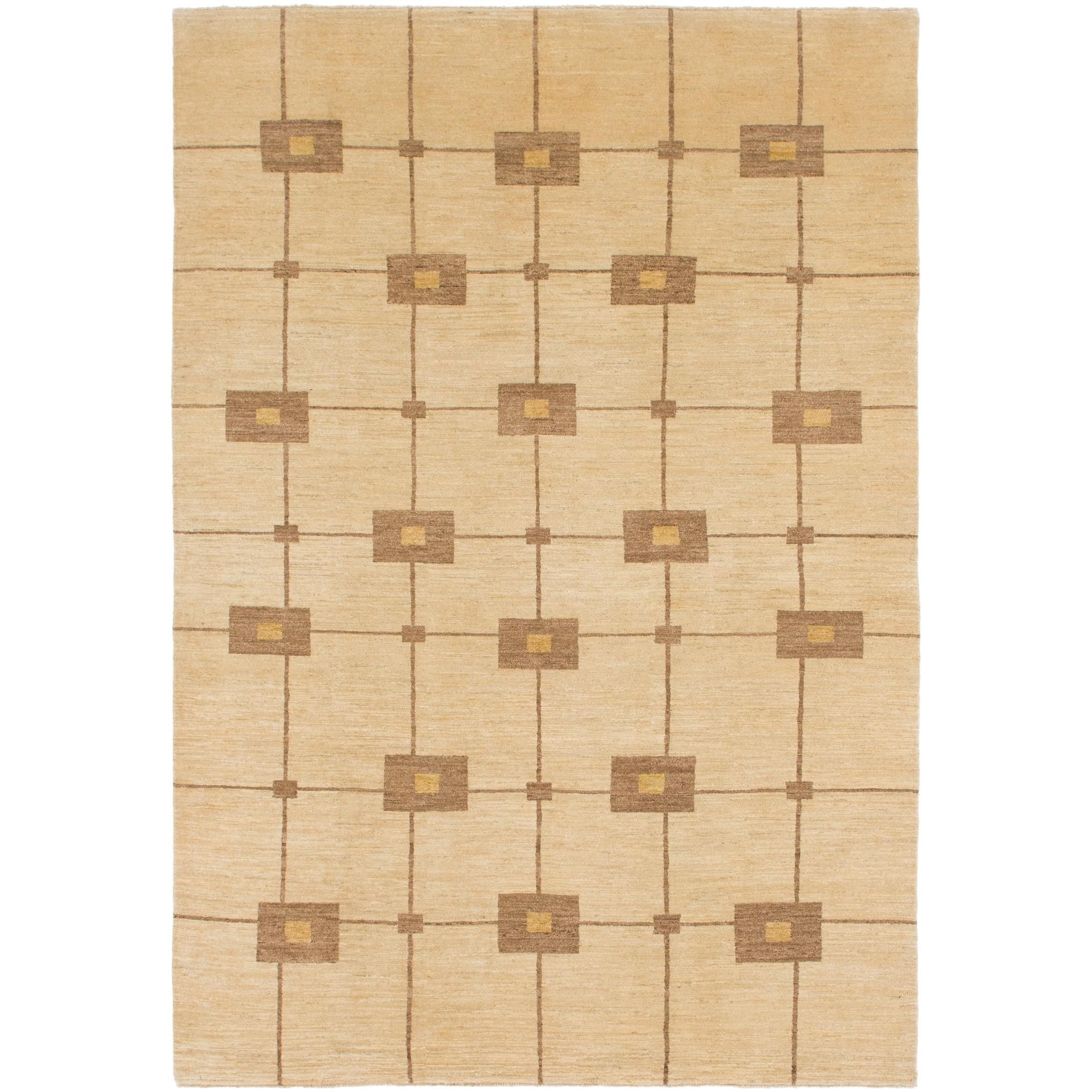 Hand Knotted Kashkuli Gabbeh Wool Area Rug - 6 7 x 9 9 (Cream - 6 7 x 9 9)