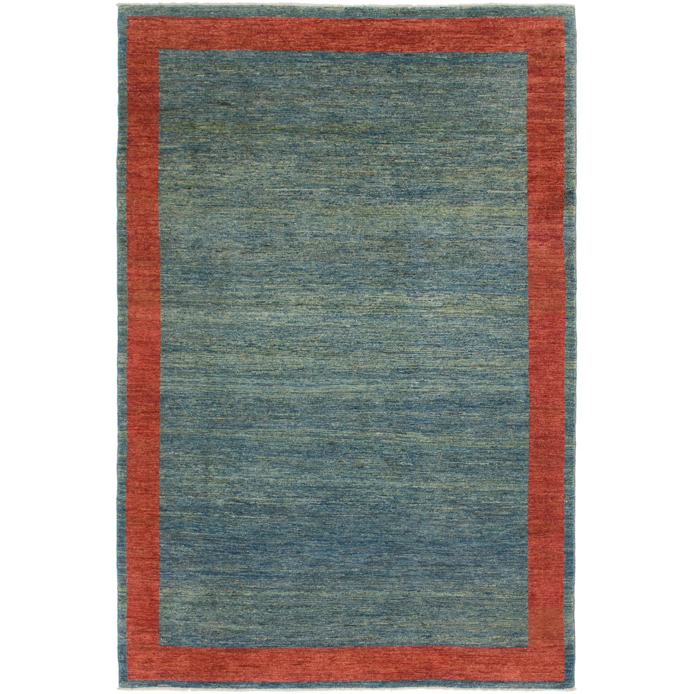 Hand Knotted Kashkuli Gabbeh Wool Area Rug - 6 4 x 9 8 (Blue - 6 4 x 9 8)