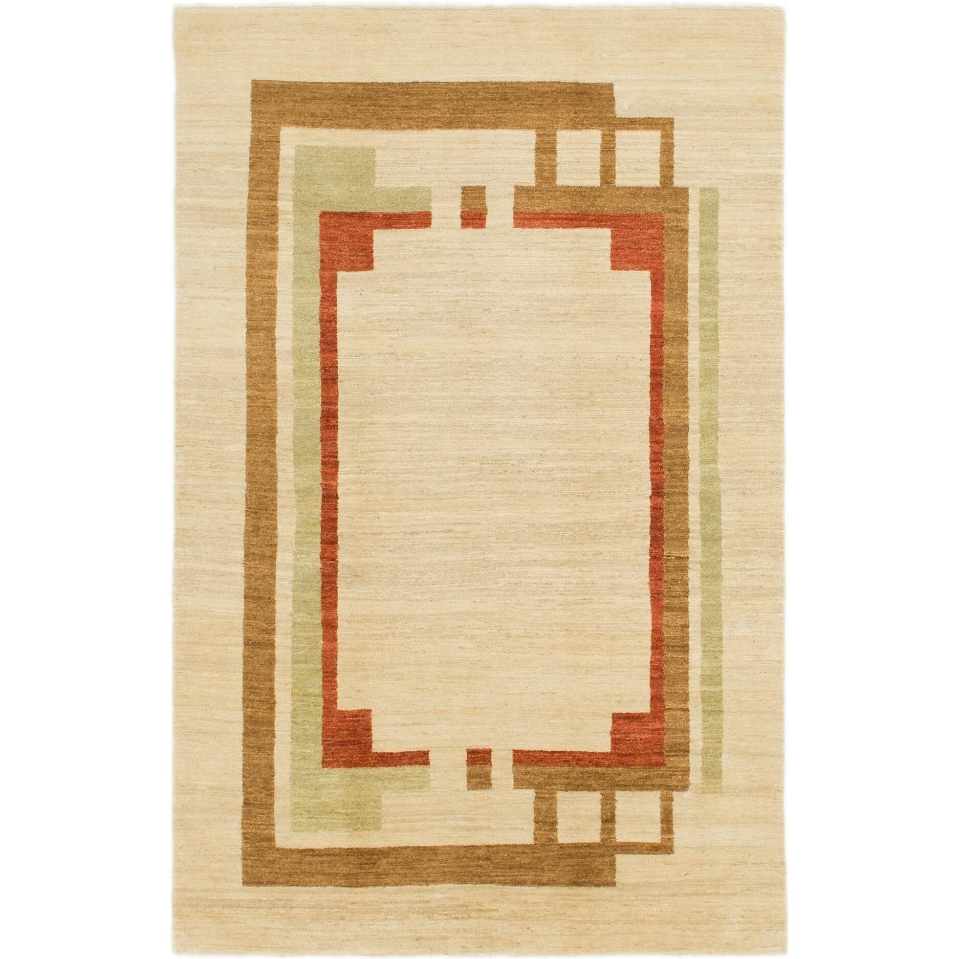 Hand Knotted Kashkuli Gabbeh Wool Area Rug - 5 8 x 8 8 (Cream - 5 8 x 8 8)