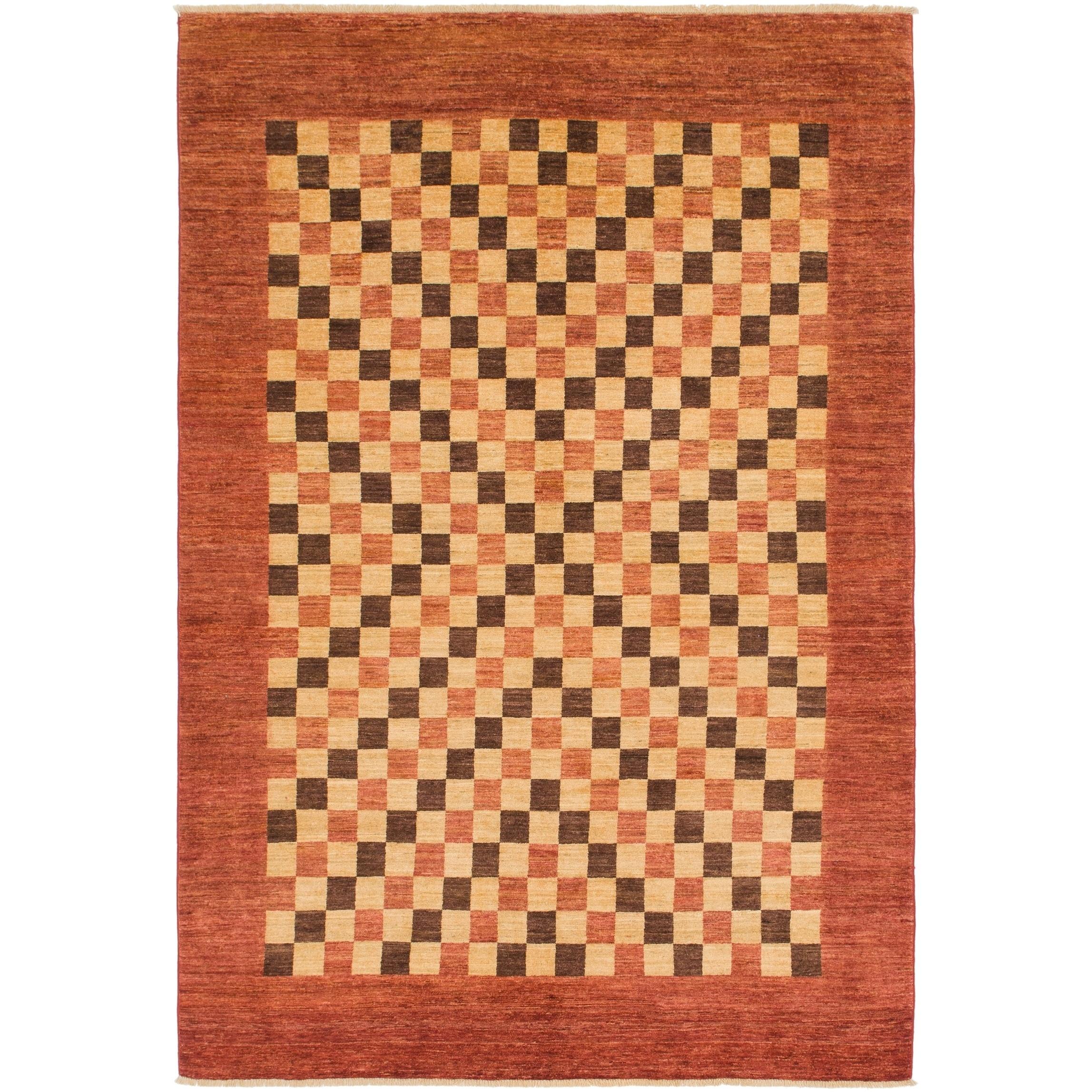 Hand Knotted Kashkuli Gabbeh Wool Area Rug - 6 8 x 9 9 (Cream - 6 8 x 9 9)