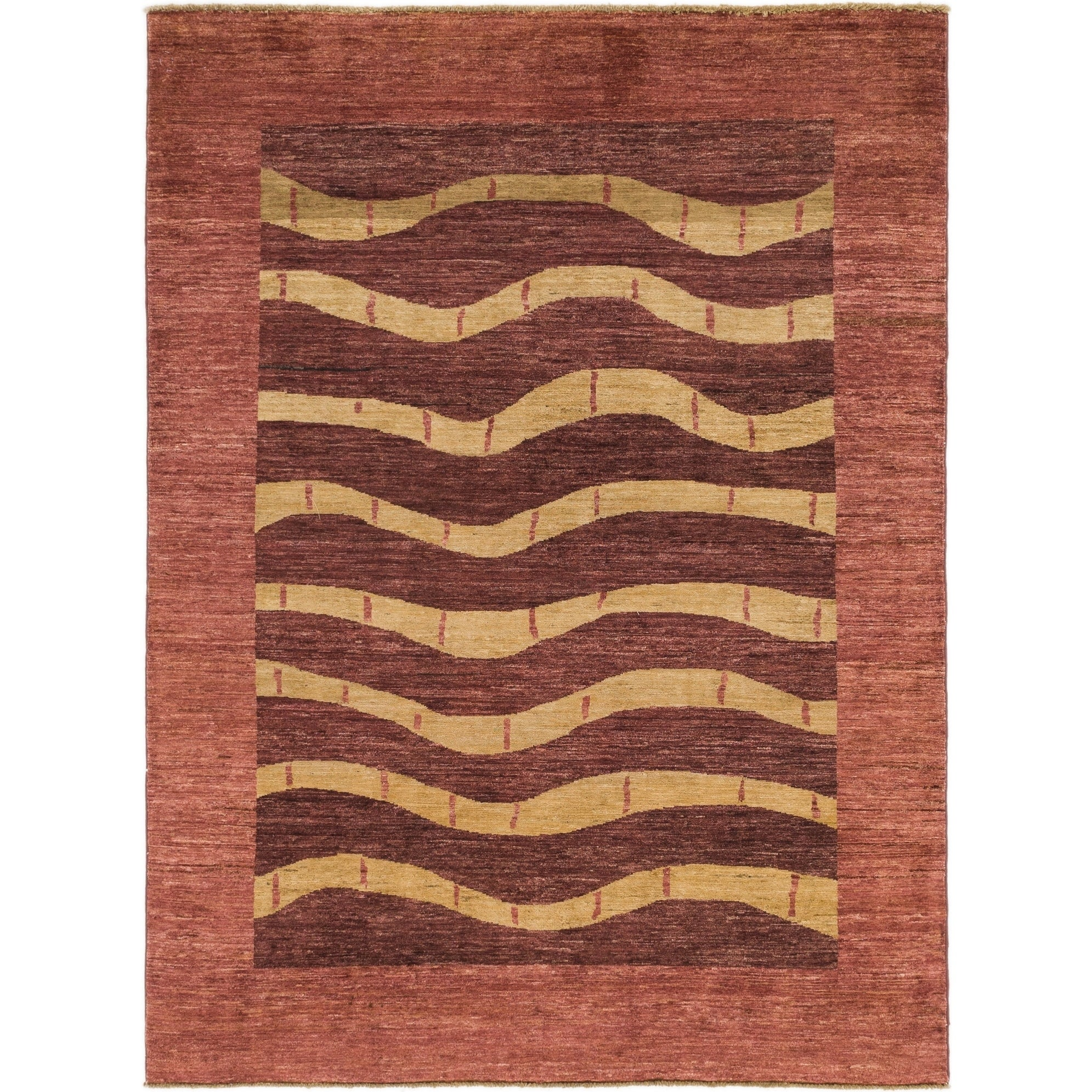 Hand Knotted Kashkuli Gabbeh Wool Area Rug - 5 10 x 7 10 (Red - 5 10 x 7 10)