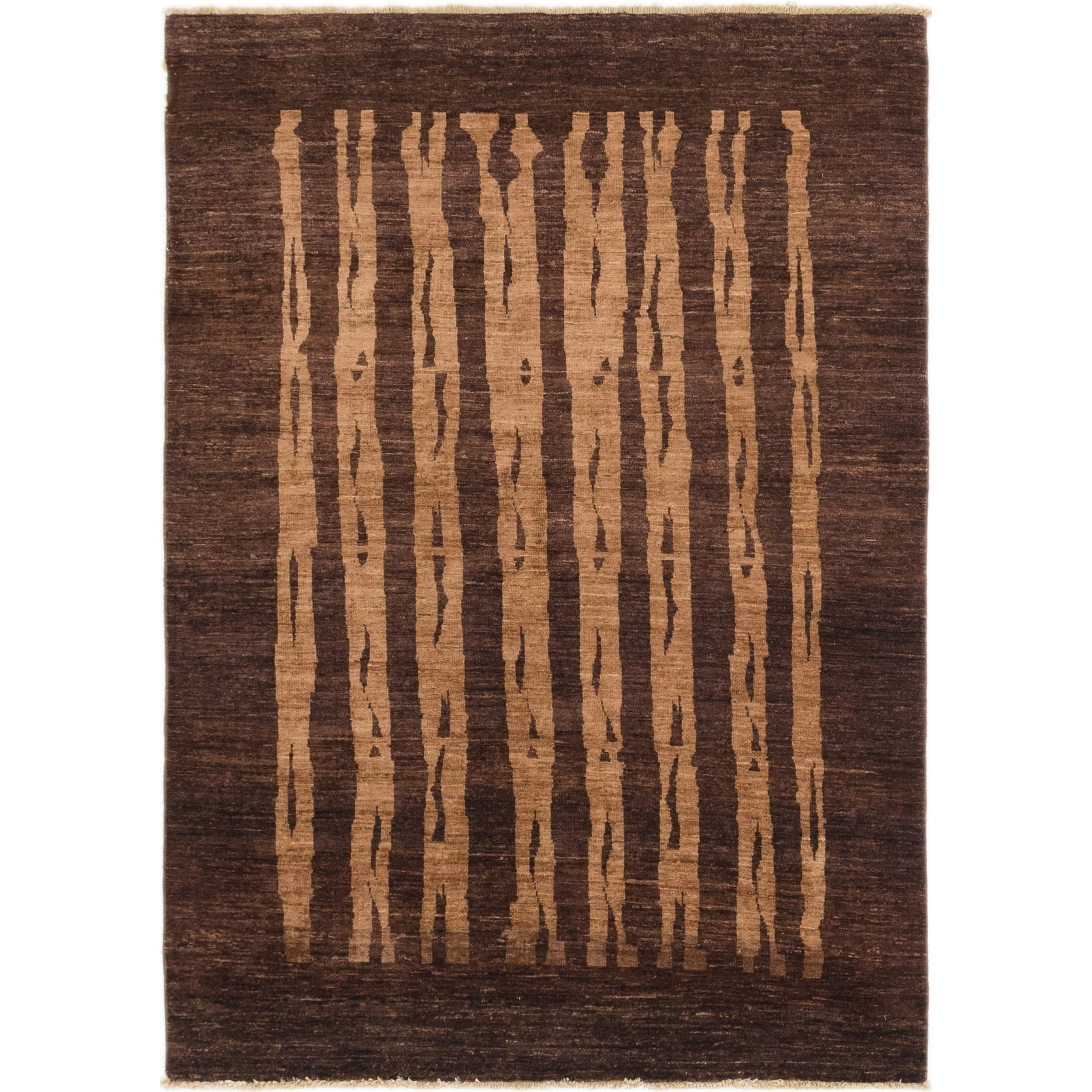 Hand Knotted Kashkuli Gabbeh Wool Area Rug - 4 10 x 6 10 (Plum Red - 4 10 x 6 10)