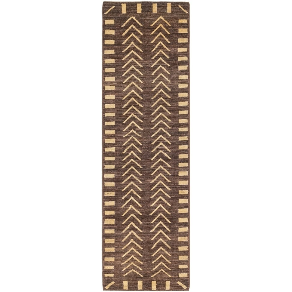 Hand Knotted Kashkuli Gabbeh Wool Runner Rug - 2 7 x 9 6 (Brown - 2 7 x 9 6)