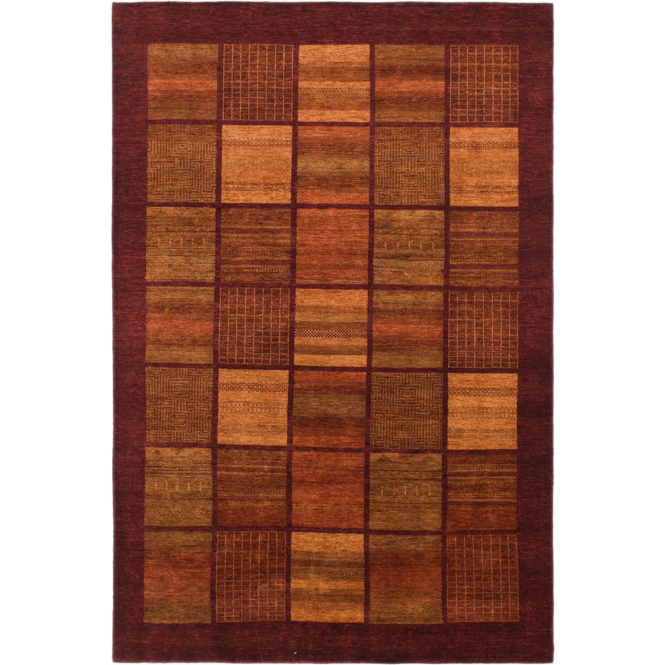 Hand Knotted Kashkuli Gabbeh Wool Area Rug - 6 7 x 9 10 (Red - 6 7 x 9 10)