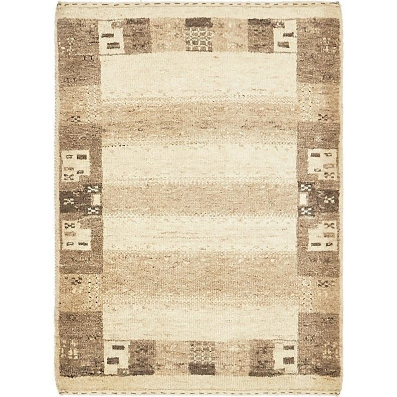 Hand Knotted Kashkuli Gabbeh Wool Area Rug - 1 10 x 3 (Cream - 1 10 x 3)