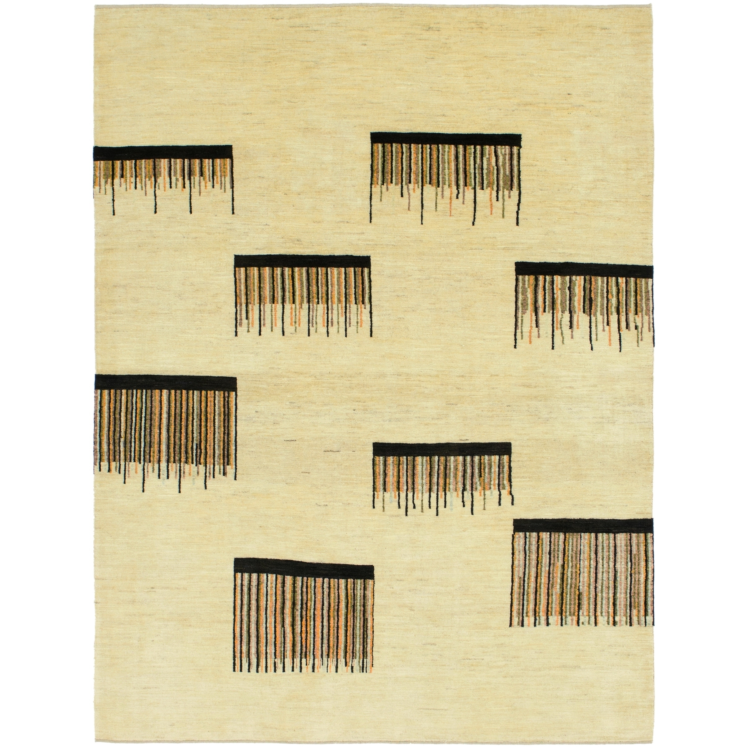 Hand Knotted Kashkuli Gabbeh Wool Area Rug - 7 x 9 3 (Cream - 7 x 9 3)
