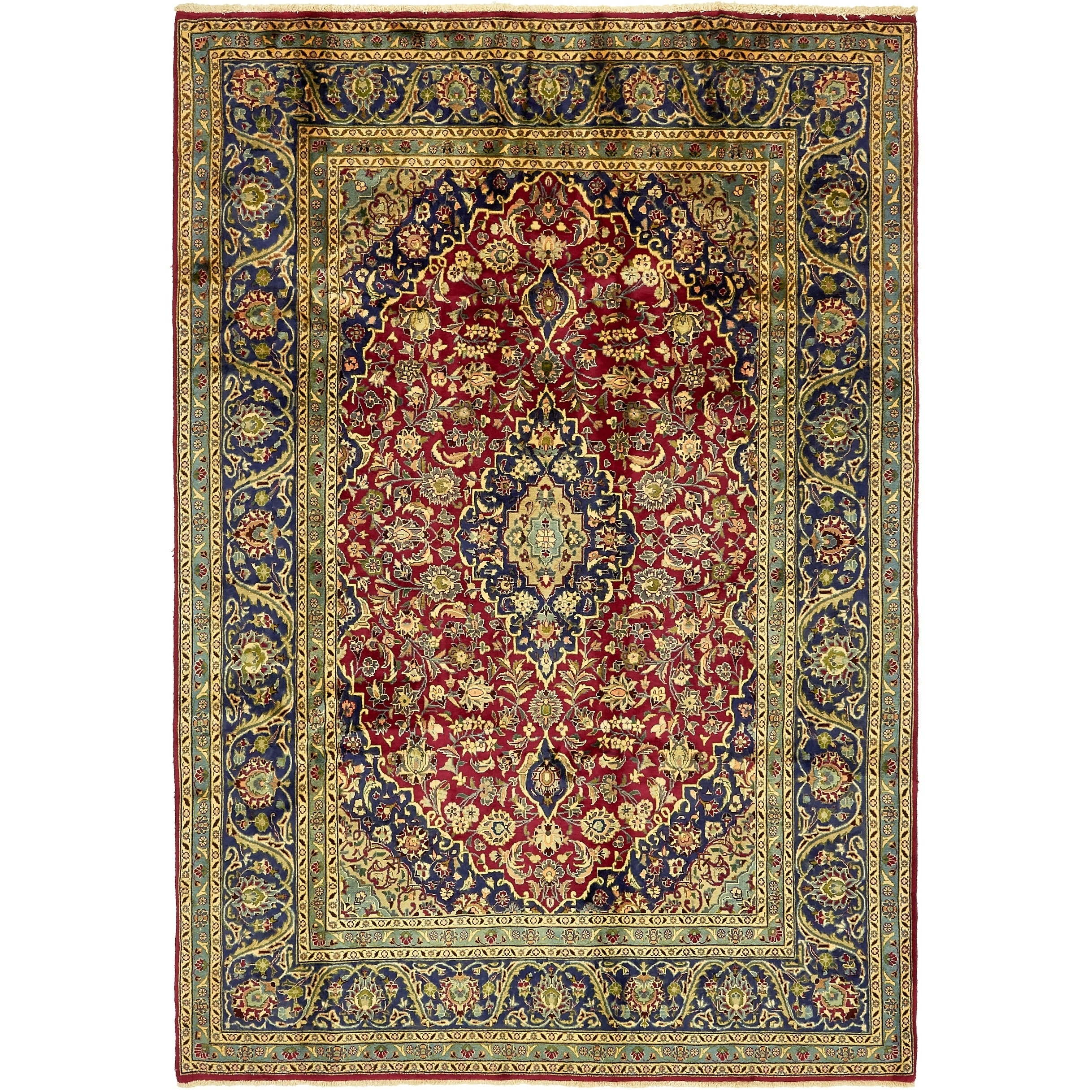 Hand Knotted Kashmar Semi Antique Wool Area Rug - 6 8 x 9 8 (Red - 6 8 x 9 8)