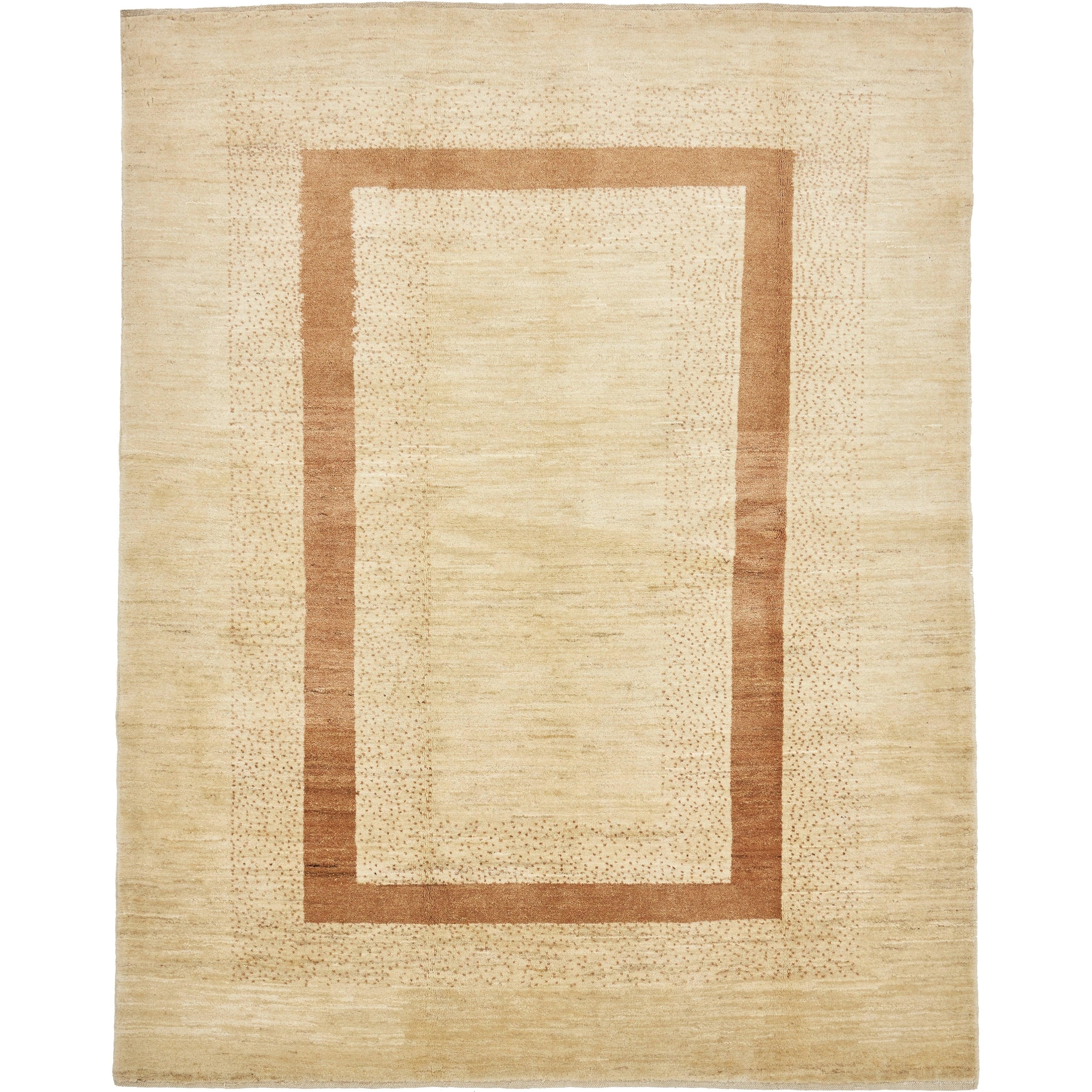 Hand Knotted Kashkuli Gabbeh Wool Area Rug - 5 11 x 7 6 (Beige - 5 11 x 7 6)
