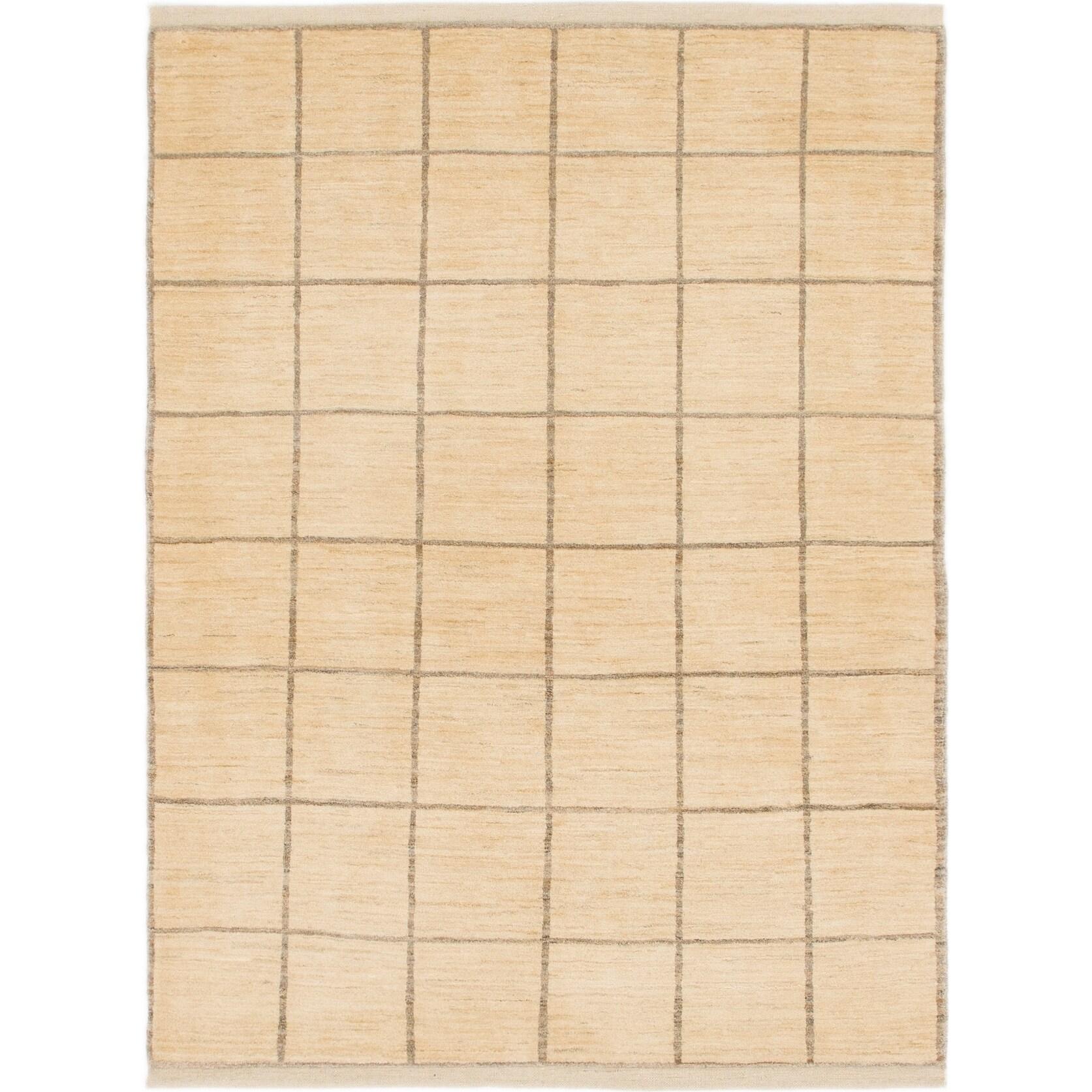 Hand Knotted Kashkuli Gabbeh Wool Area Rug - 5 x 6 10 (Cream - 5 x 6 10)
