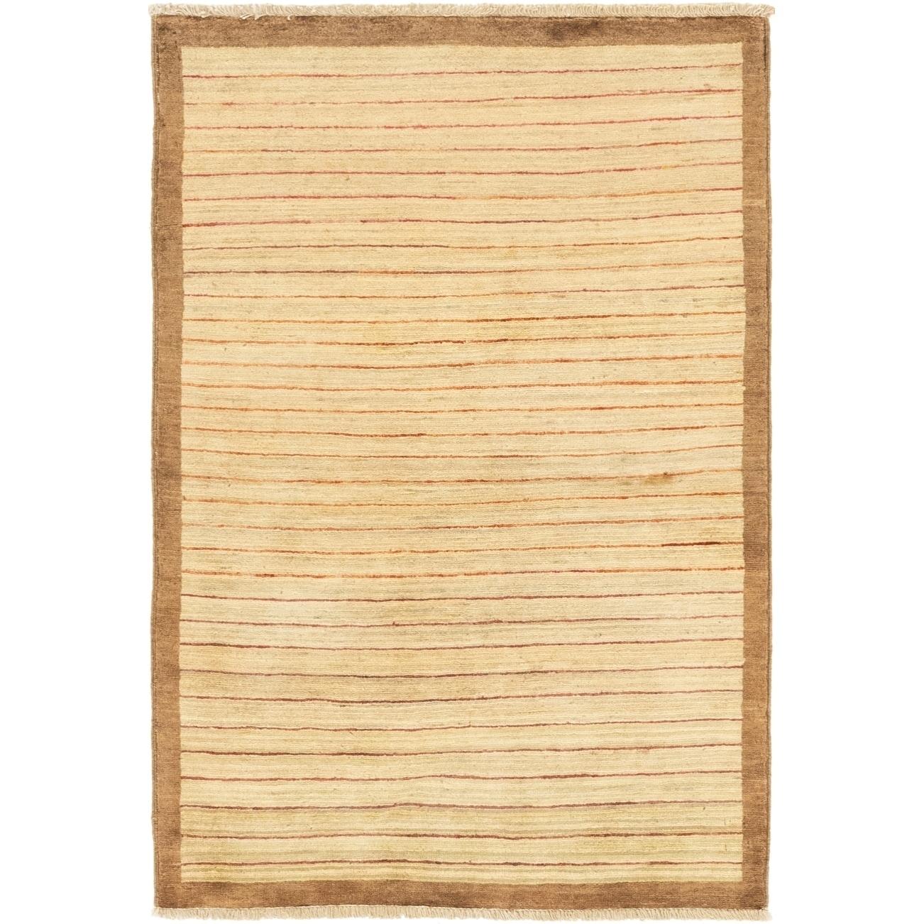 Hand Knotted Kashkuli Gabbeh Wool Area Rug - 3 2 x 4 9 (Beige - 3 2 x 4 9)