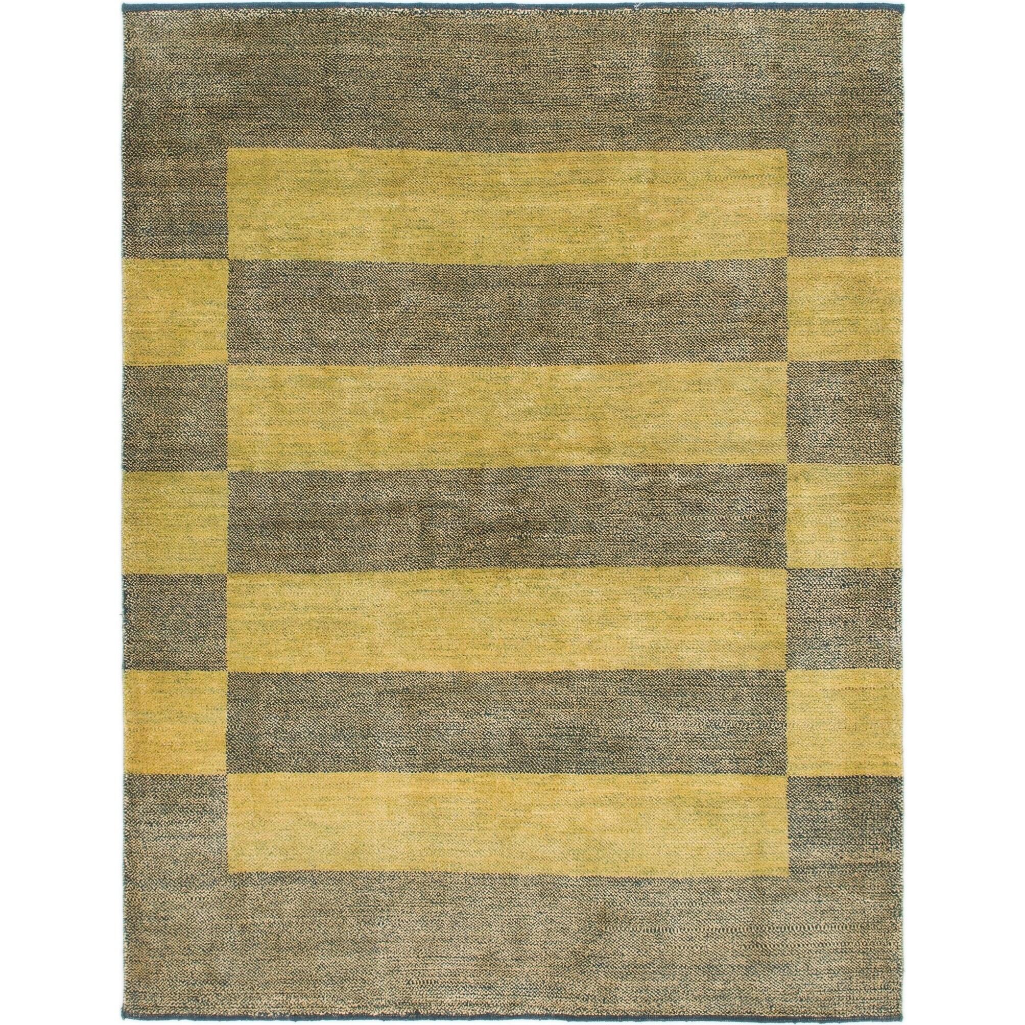 Hand Knotted Kashkuli Gabbeh Wool Area Rug - 6 x 7 10 (Green - 6 x 7 10)