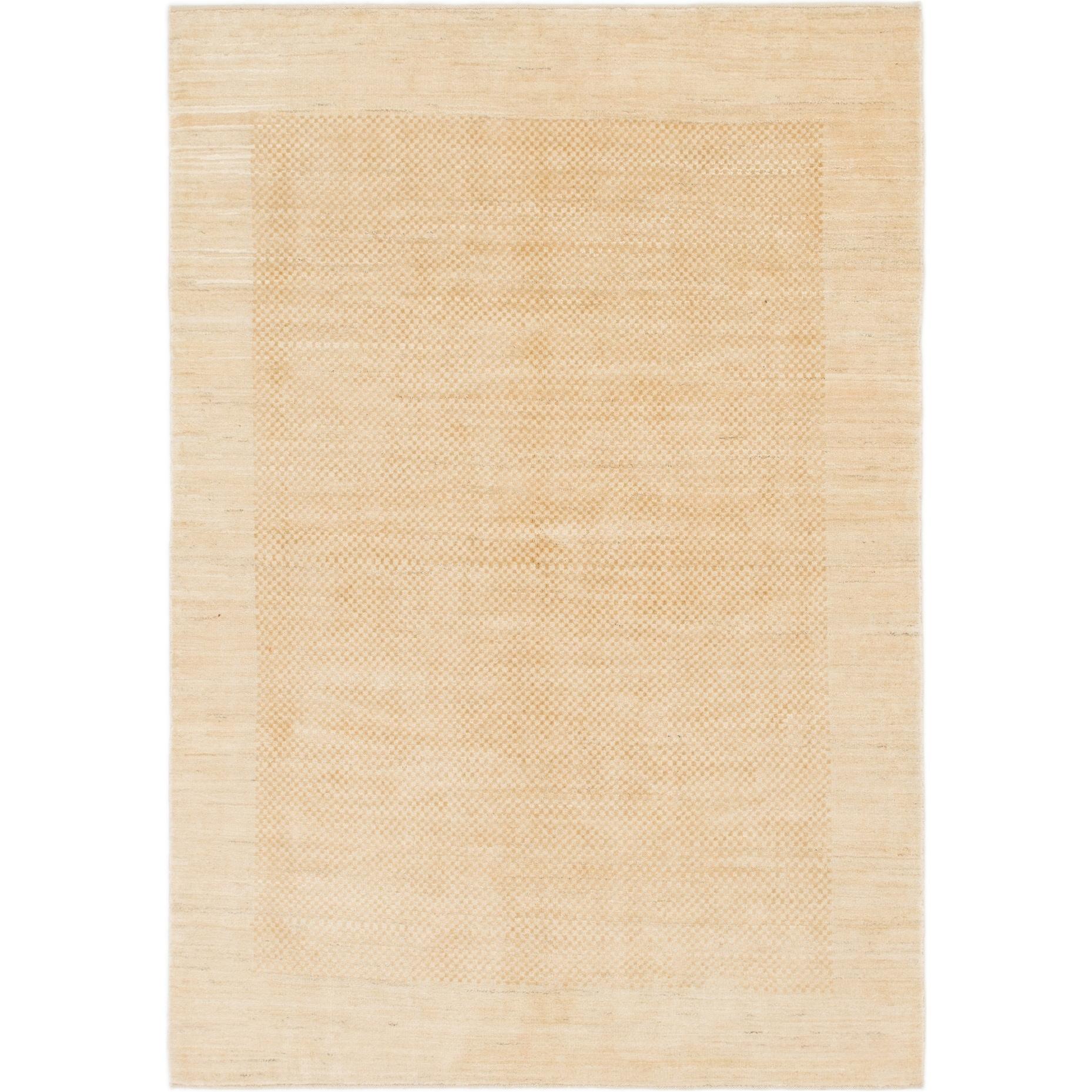 Hand Knotted Kashkuli Gabbeh Wool Area Rug - 5 7 x 8 (Gold - 5 7 x 8)