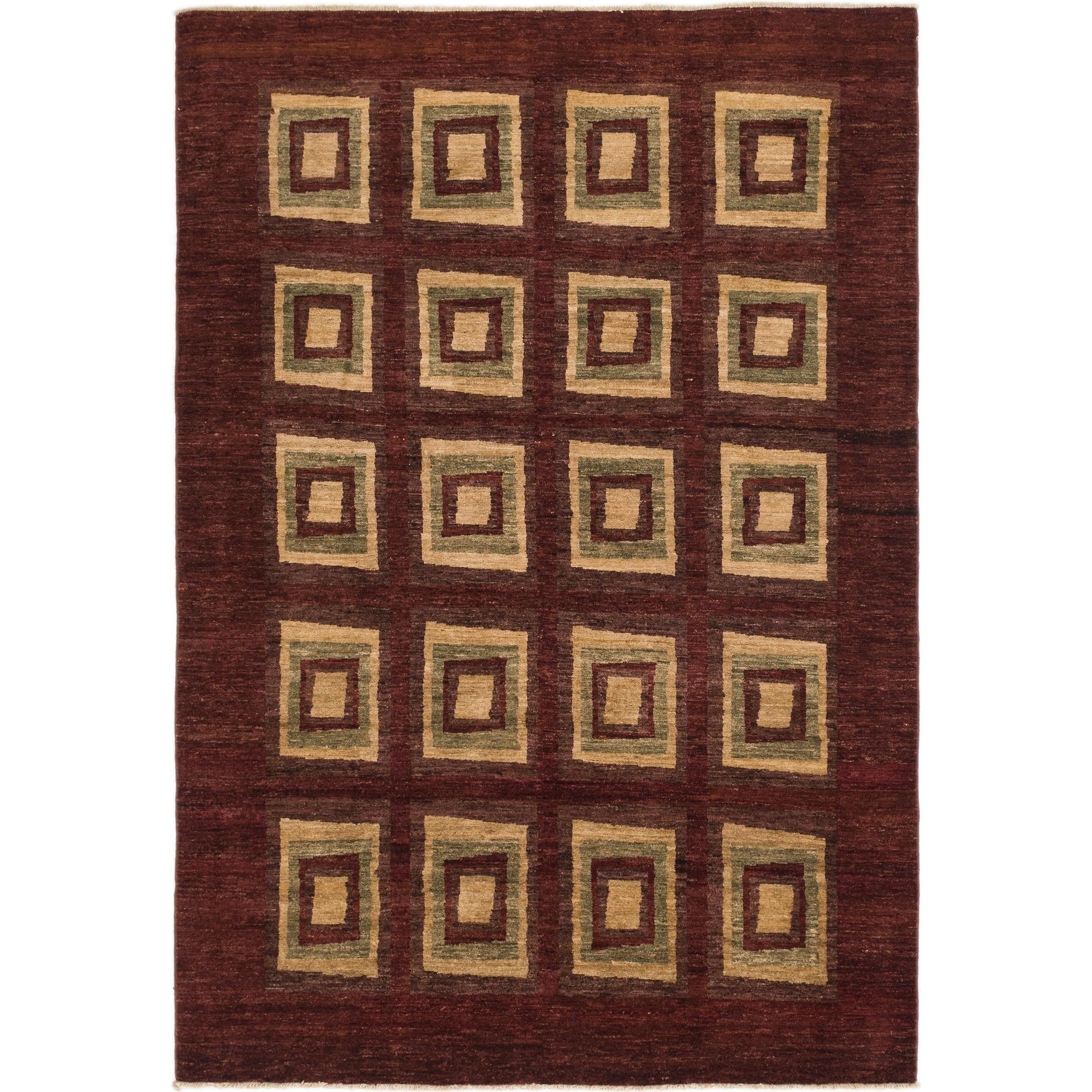 Hand Knotted Kashkuli Gabbeh Wool Area Rug - 6 2 x 9 (Burgundy - 6 2 x 9)