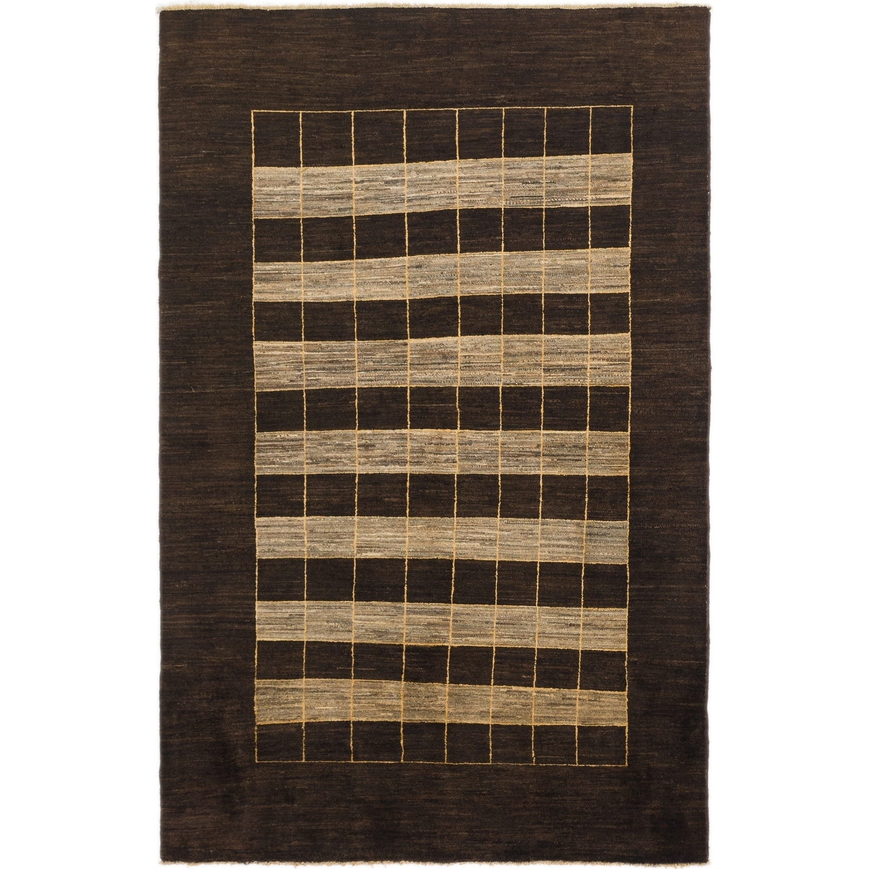 Hand Knotted Kashkuli Gabbeh Wool Area Rug - 5 x 7 10 (Brown - 5 x 7 10)