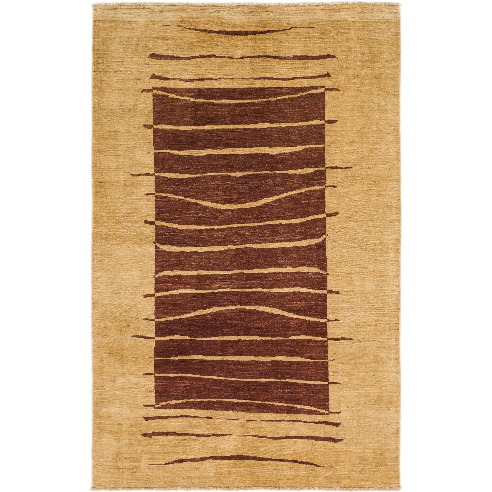 Hand Knotted Kashkuli Gabbeh Wool Area Rug - 5 10 x 9 4 (Gold - 5 10 x 9 4)
