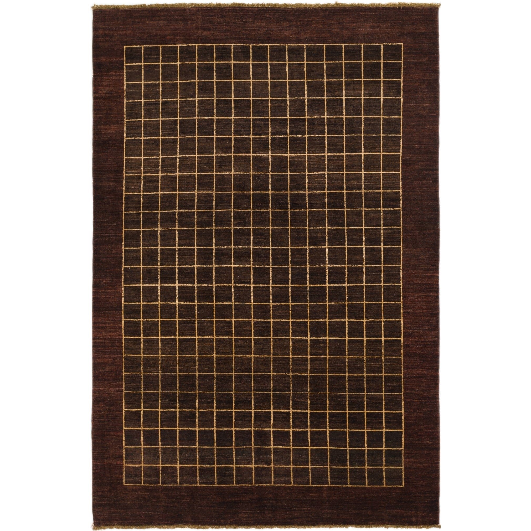 Hand Knotted Kashkuli Gabbeh Wool Area Rug - 6 x 9 (Plum Red - 6 x 9)