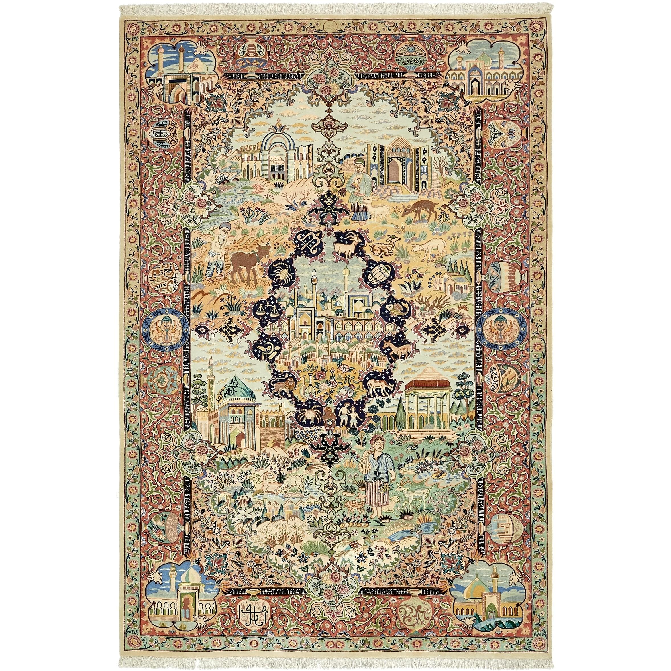 Hand Knotted Kashmar Silk & Wool Area Rug - 6 6 x 9 9 (Light Blue - 6 6 x 9 9)