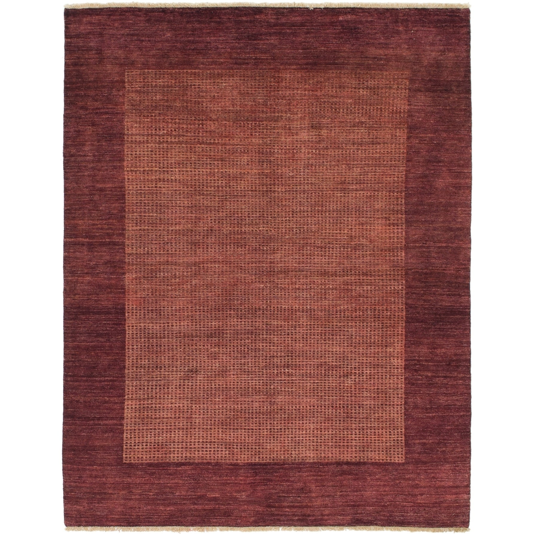 Hand Knotted Kashkuli Gabbeh Wool Area Rug - 5 2 x 6 7 (Plum Red - 5 2 x 6 7)