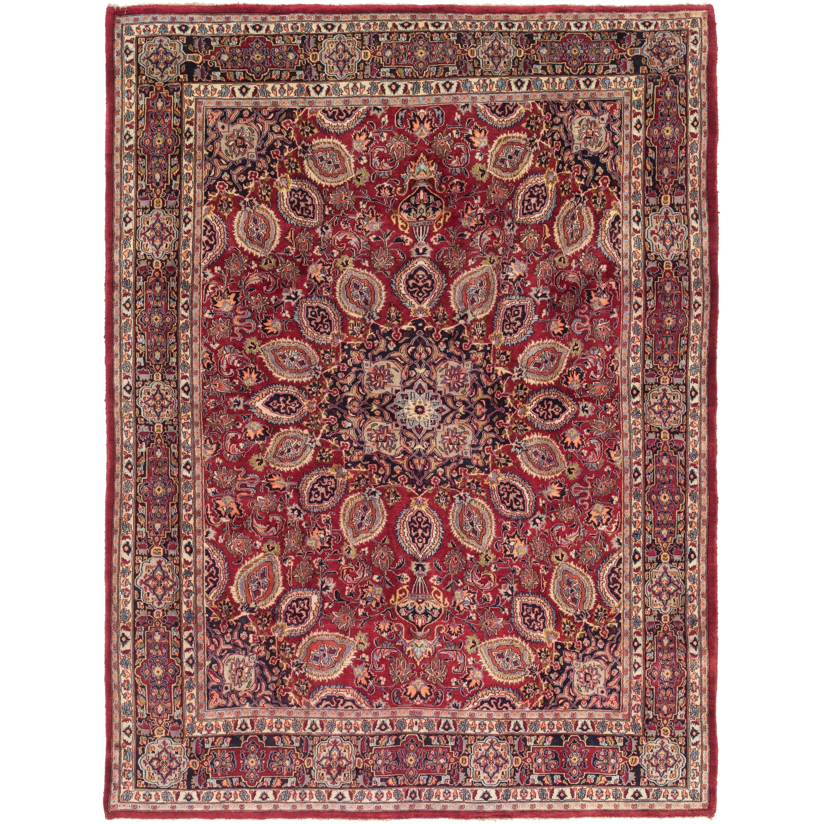 Hand Knotted Kashmar Wool Area Rug - 9 7 x 12 8 (Red - 9 7 x 12 8)