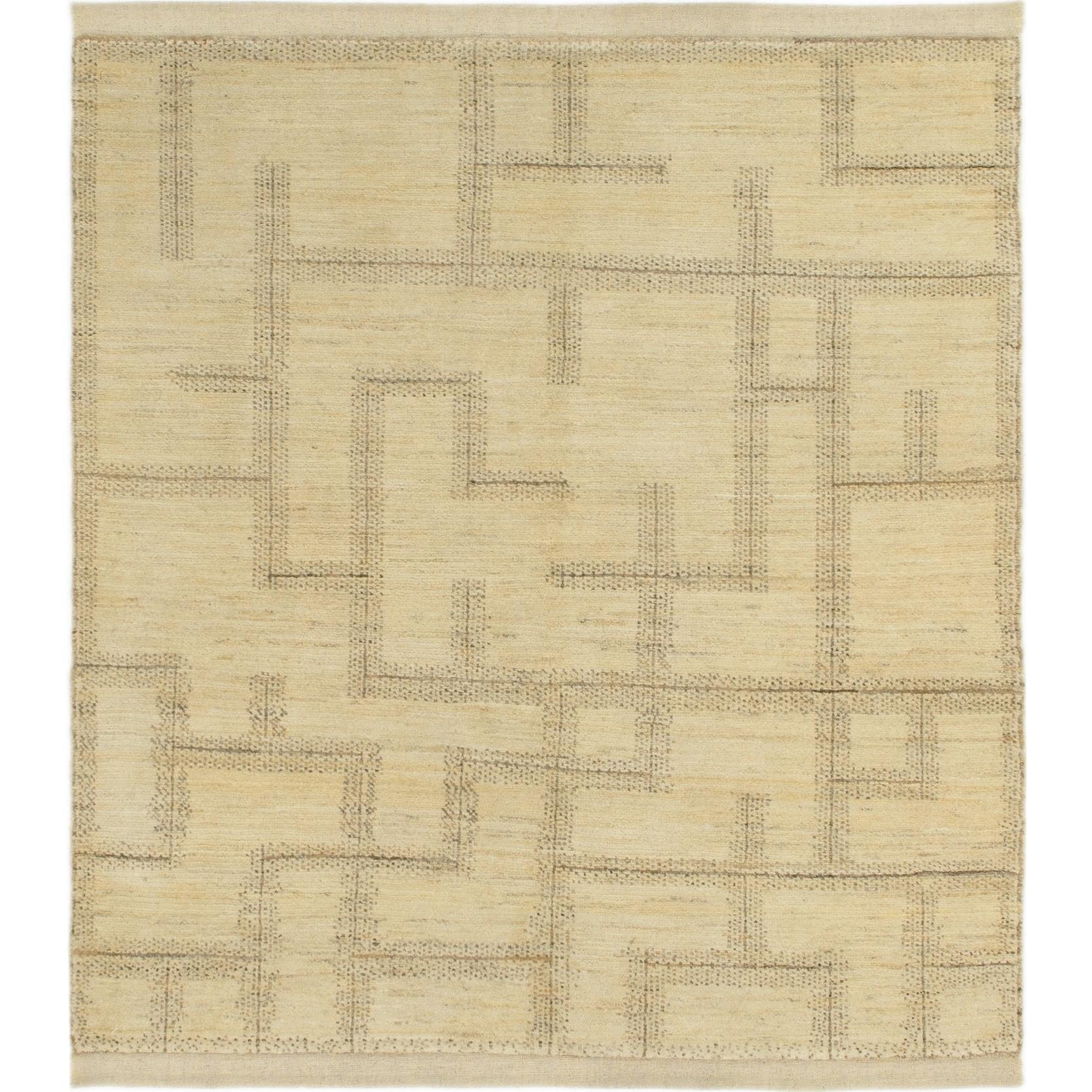 Hand Knotted Kashkuli Gabbeh Wool Square Rug - 5 x 5 8 (Cream - 5 x 5 8)