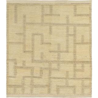 Hand Knotted Kashkuli Gabbeh Wool Square Rug - 5' x 5' 8
