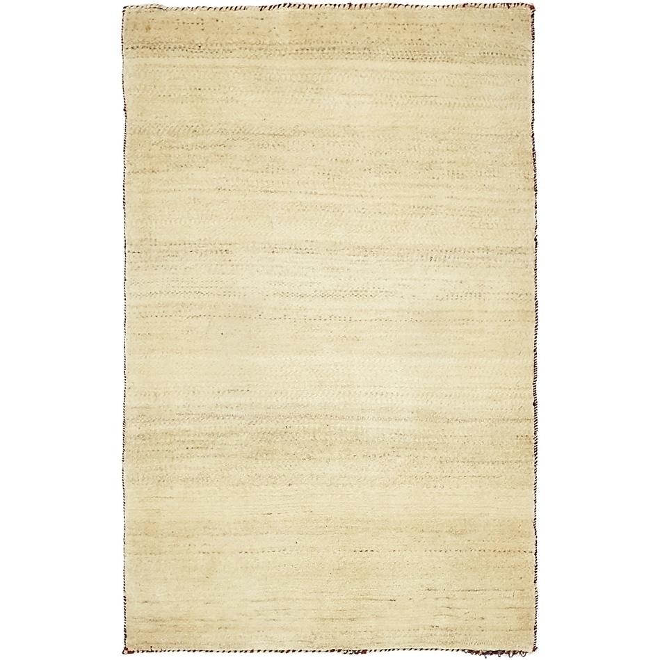Hand Knotted Kashkuli Gabbeh Wool Area Rug - 2 7 x 4 (Beige - 2 7 x 4)