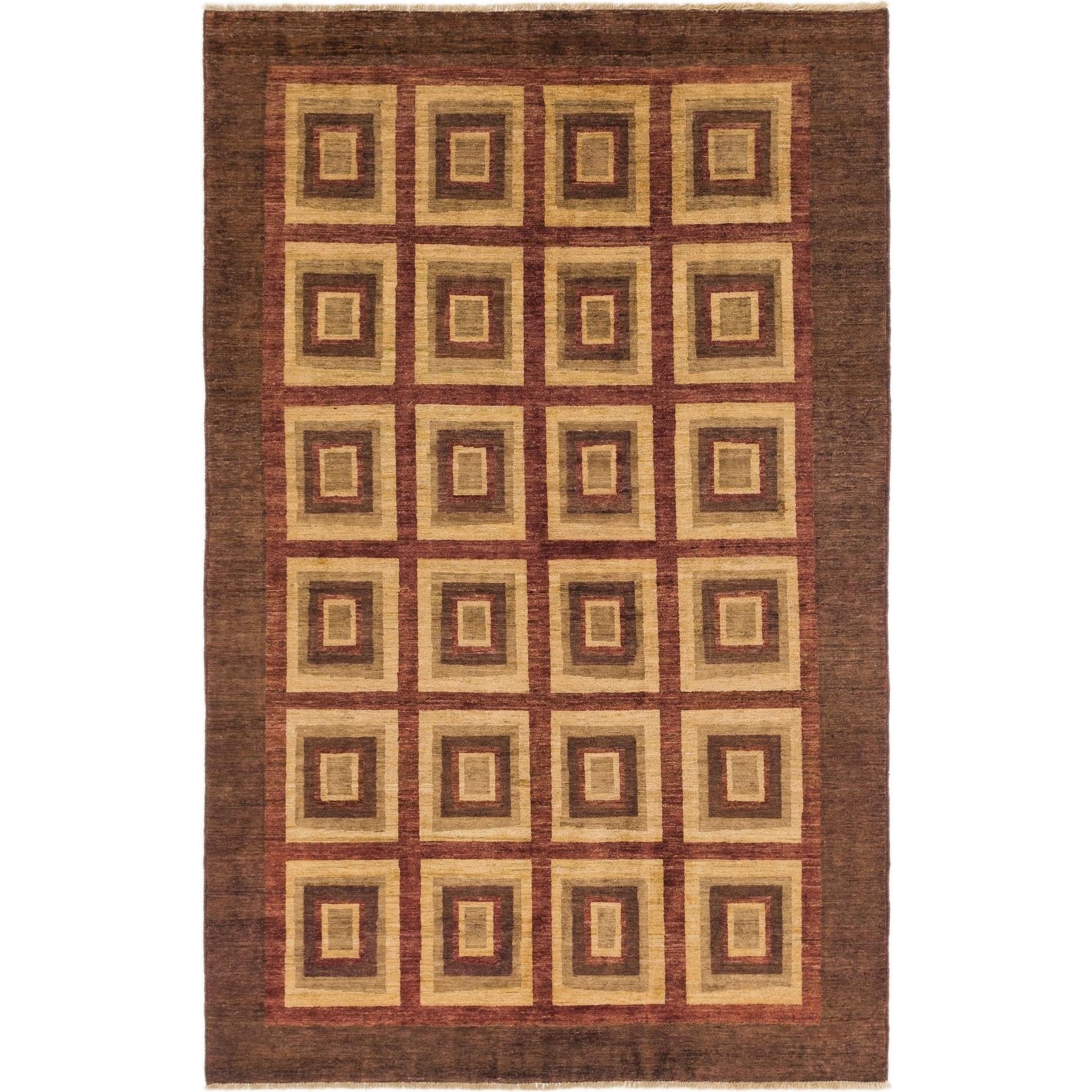 Hand Knotted Kashkuli Gabbeh Wool Area Rug - 5 6 x 8 9 (Burgundy - 5 6 x 8 9)