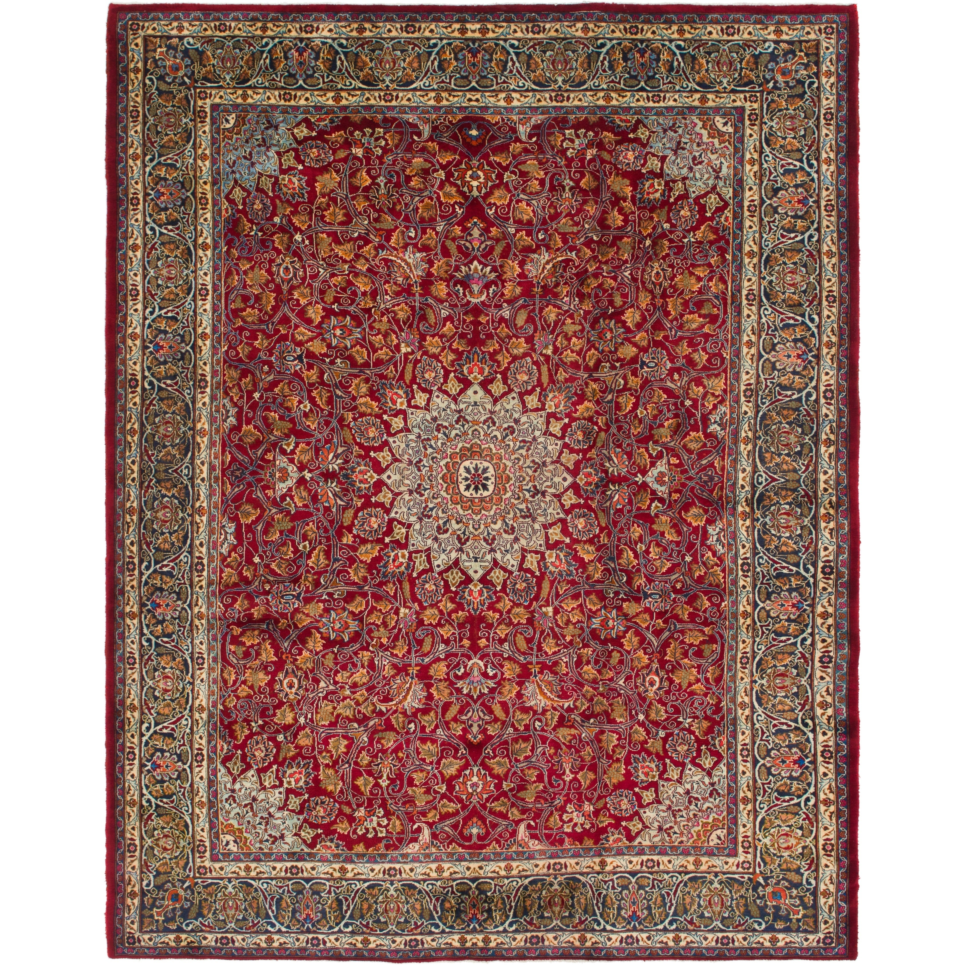 Hand Knotted Kashmar Semi Antique Wool Area Rug - 9 7 x 12 5 (Red - 9 7 x 12 5)