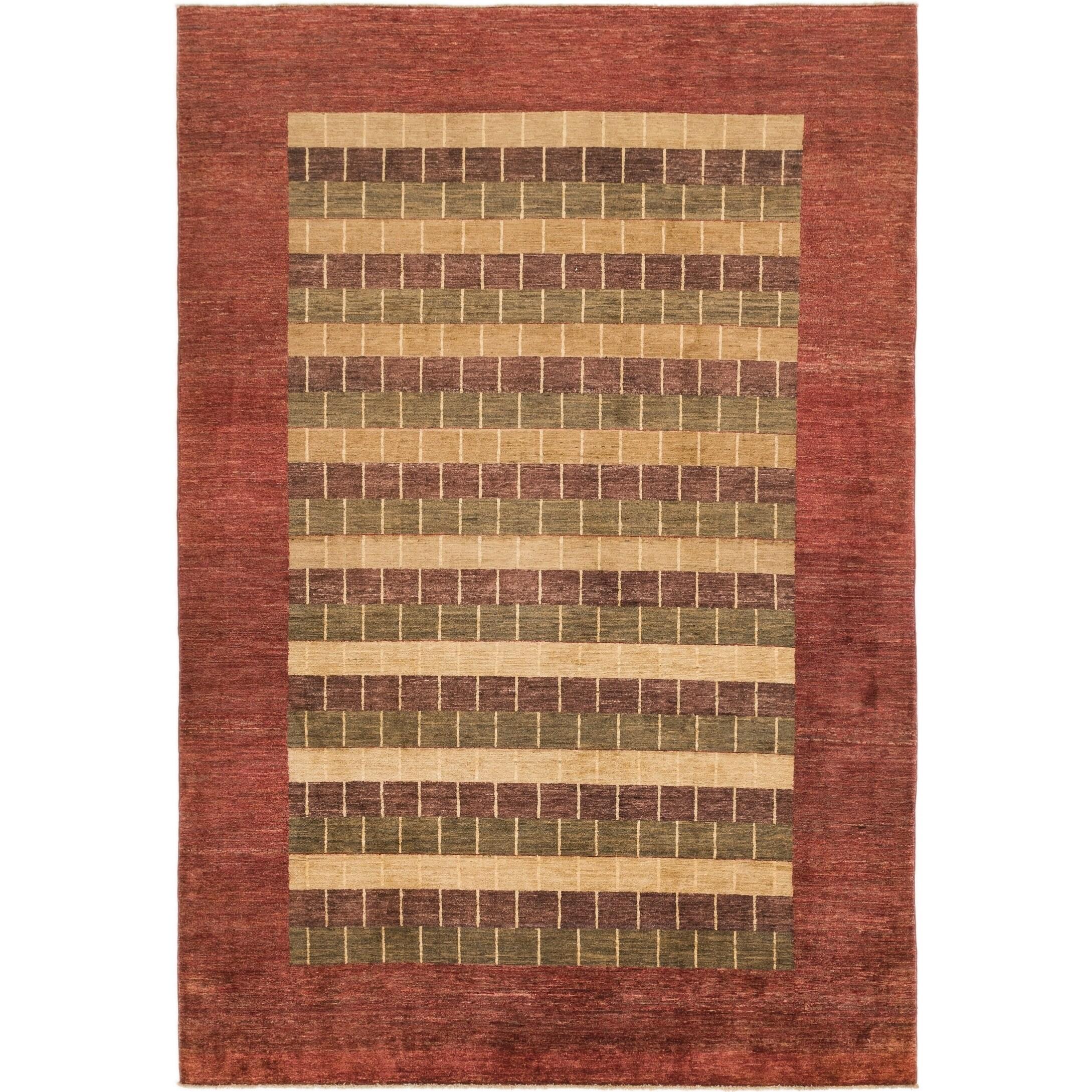 Hand Knotted Kashkuli Gabbeh Wool Area Rug - 6 6 x 9 6 (Multi - 6 6 x 9 6)